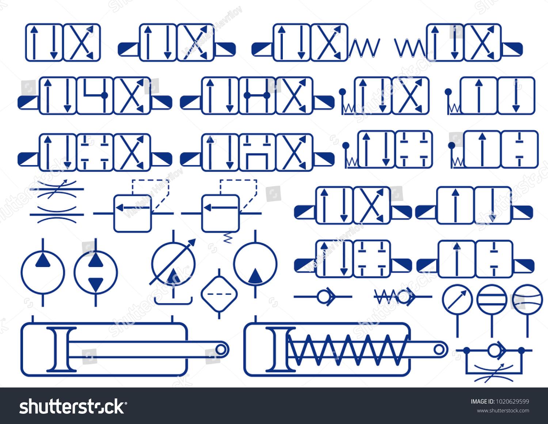 Vector Set Hydraulic Elements Symbols Constructing Stock Vector