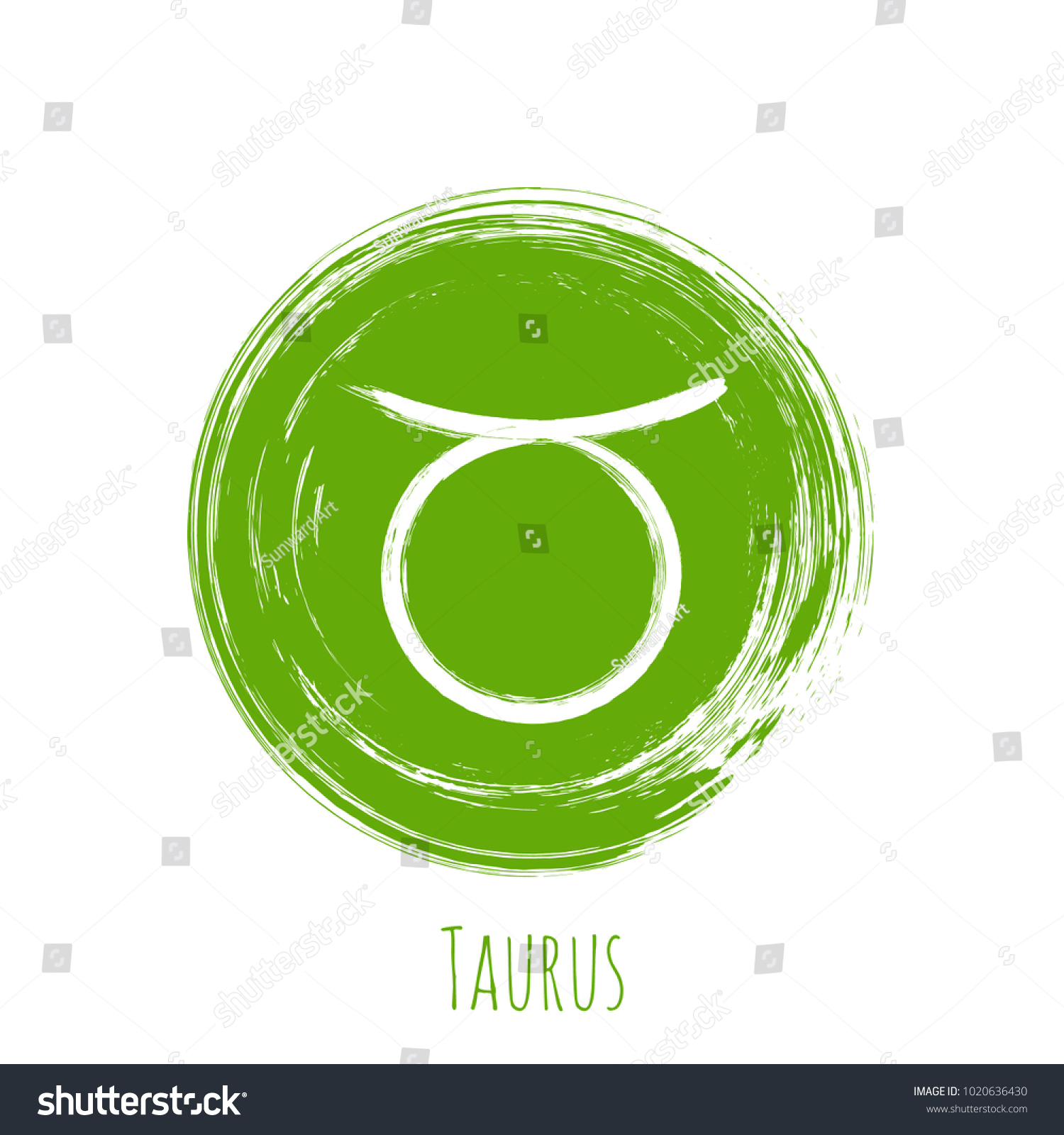 Green Circle Taurus Zodiac Sign Hand Stock Vector 1020636430