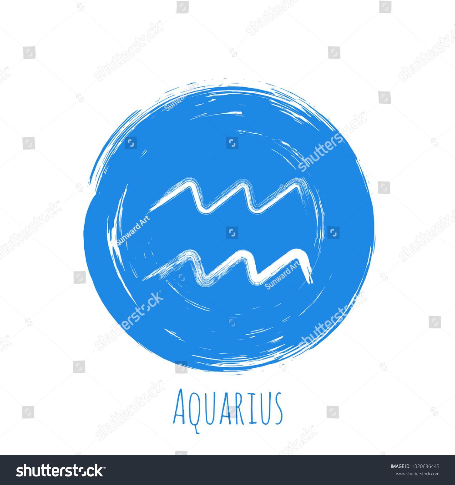 Blue Circle Aquarius Zodiac Sign Hand Stock Vector Royalty Free