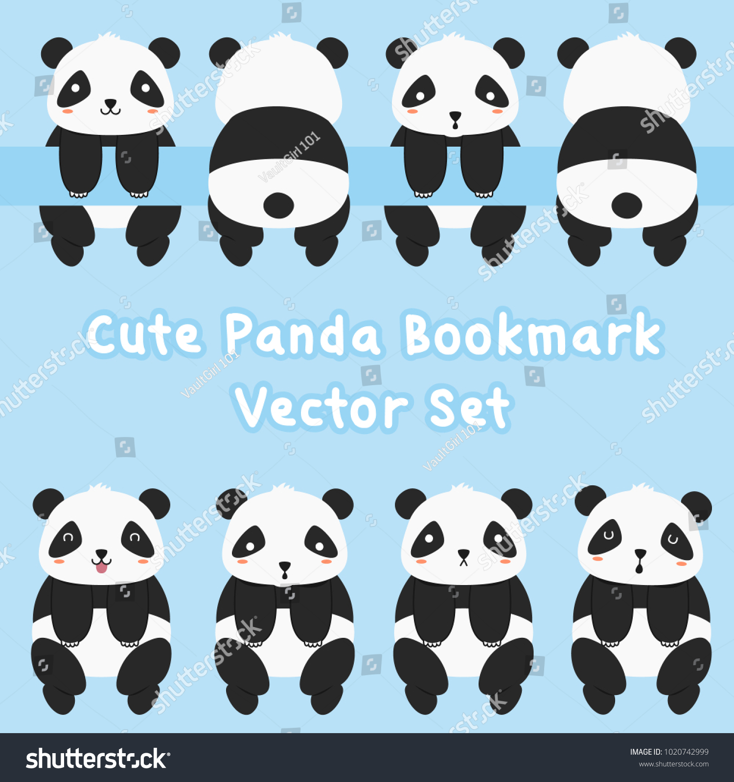 animal printable bookmark template cute panda stock vector (royalty