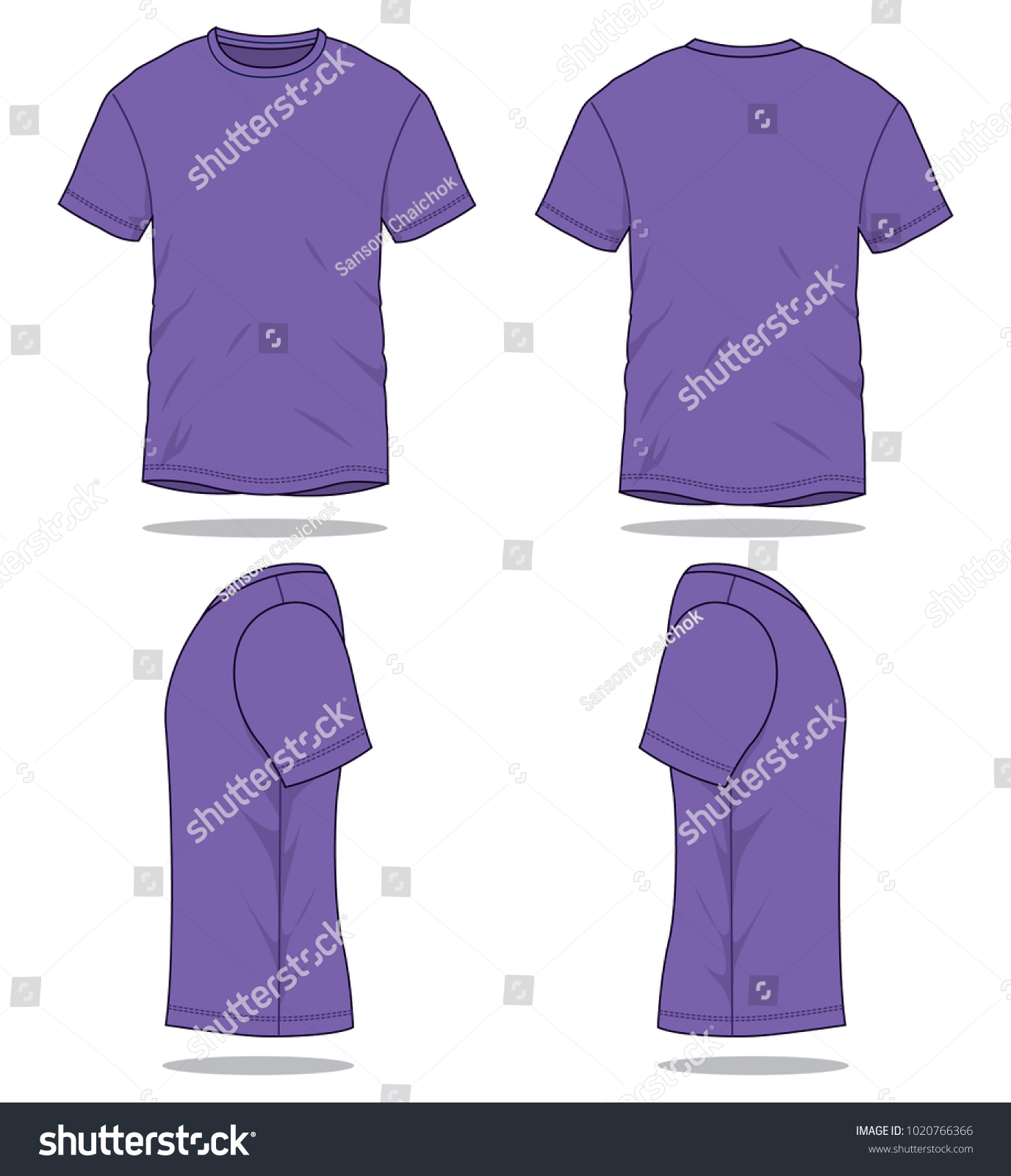 Purple Classic T Shirt Vector Template Front Back Stock Photo (Photo ...