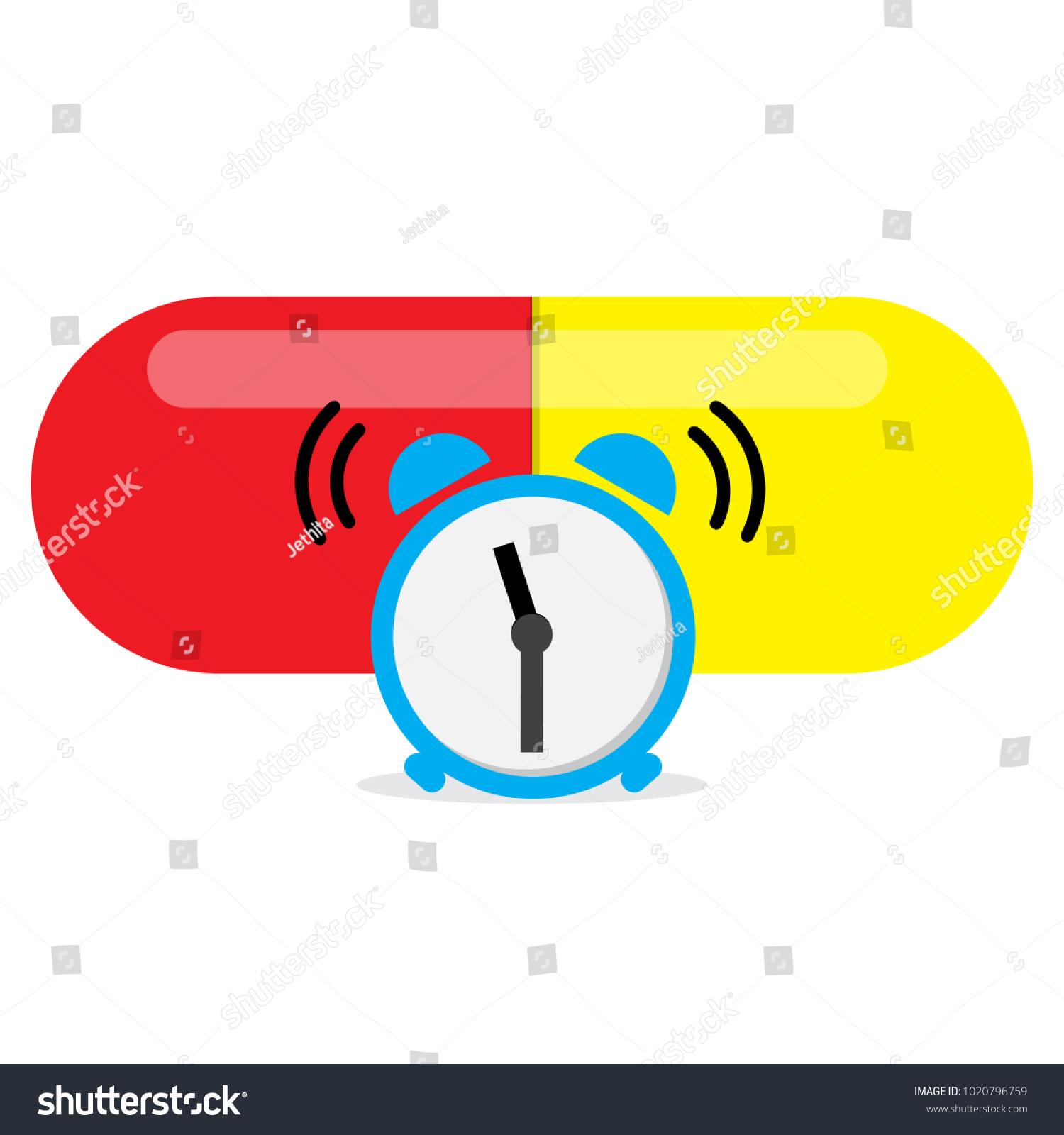 Alarm Clock Alert Take Medicine Time Stock Vector Royalty Free
