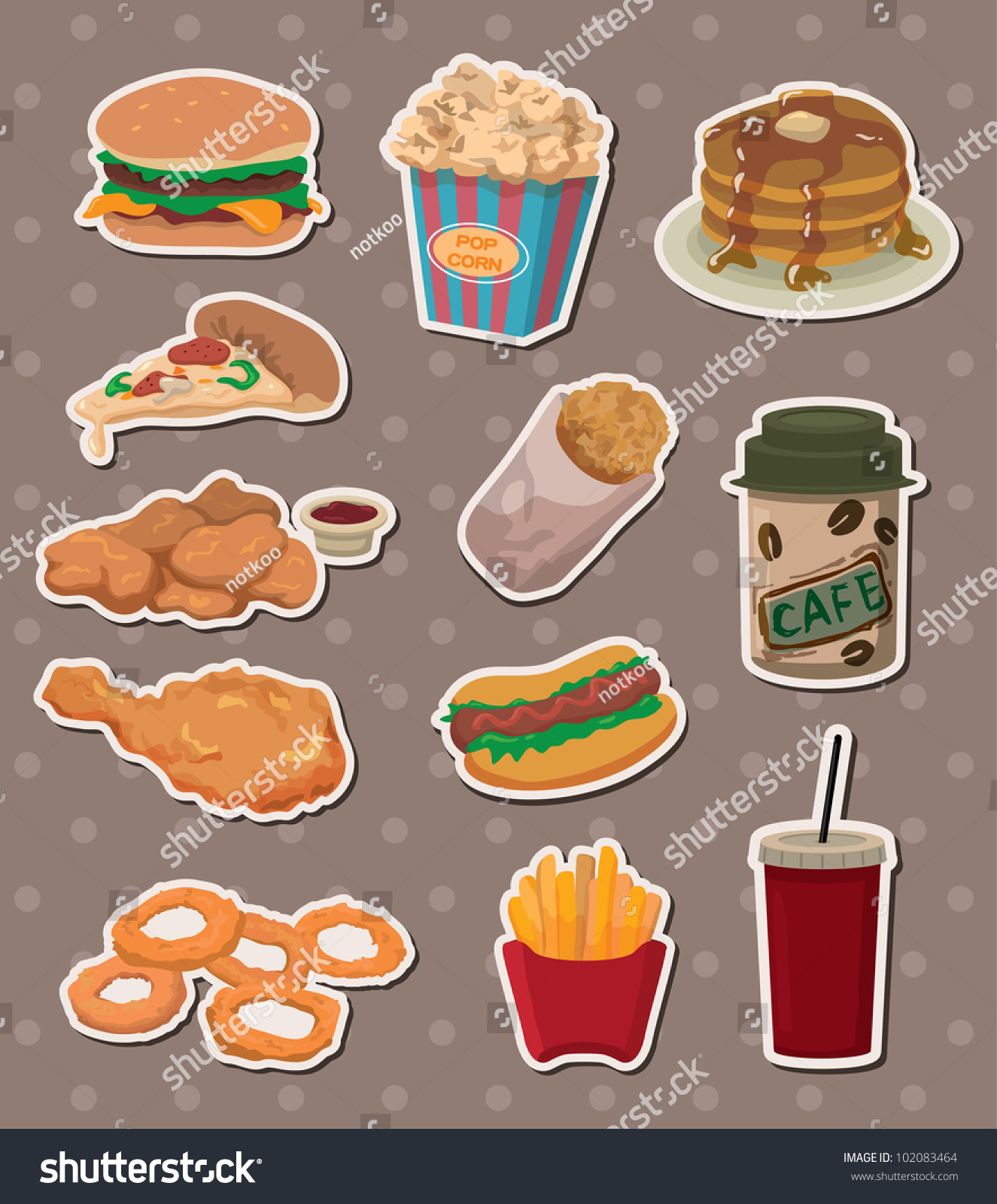 Fast Food Stickers Stock Vector Illustration 102083464