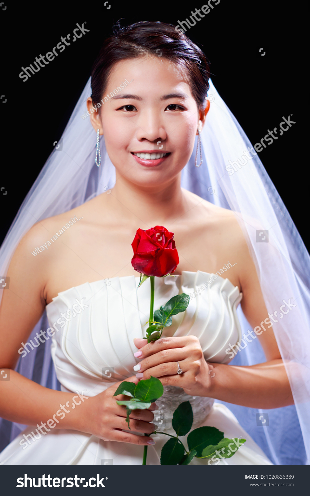 Beautiful Asian Look Woman White Wedding Stock Photo (Royalty Free ...