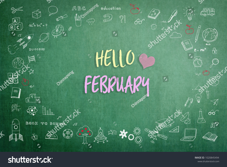 Hello January Greeting On Green School Teachers Chalkboard With