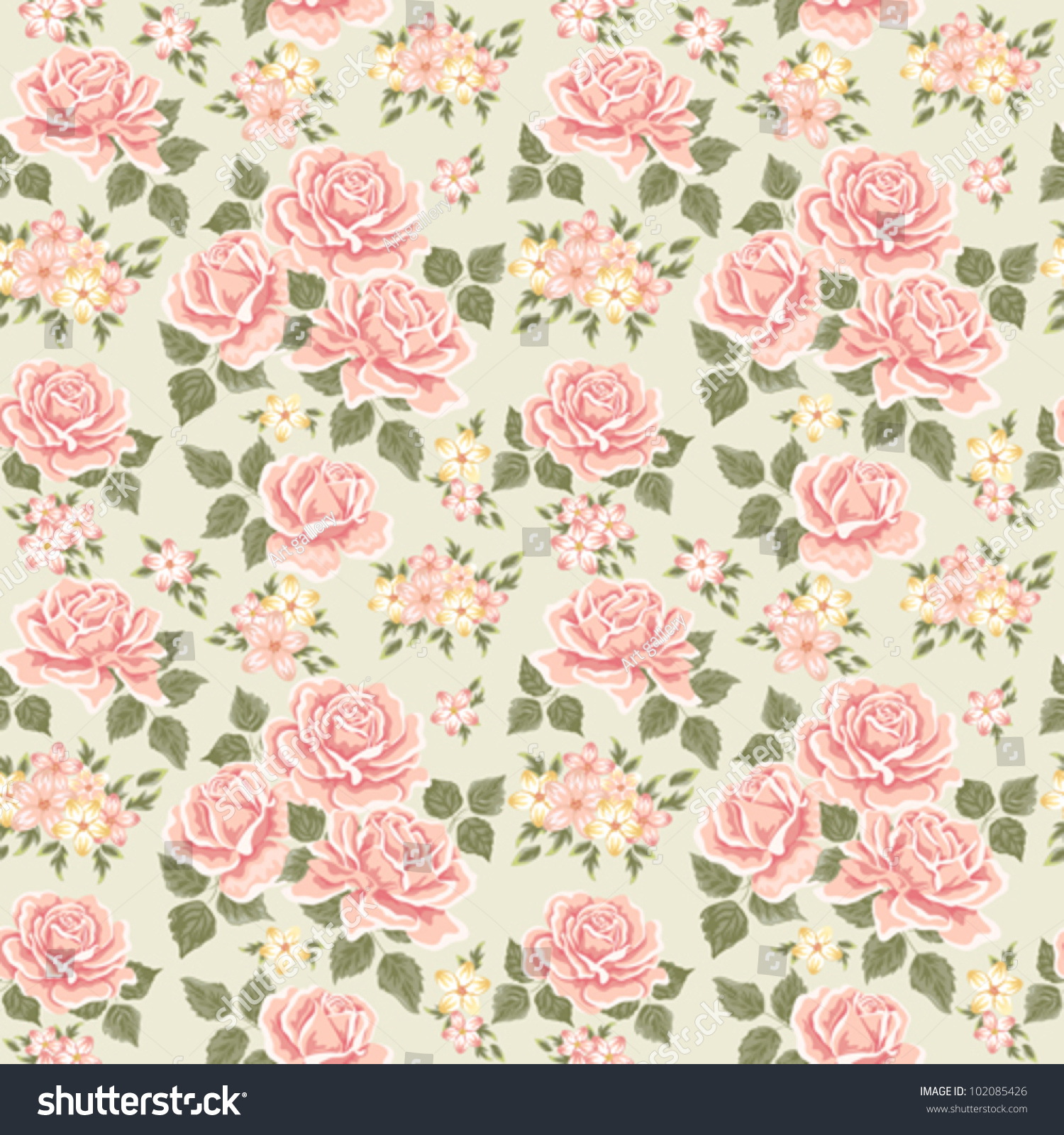 Pink Vintage Rose Pattern Seamless Stock Vector 102085426 ...