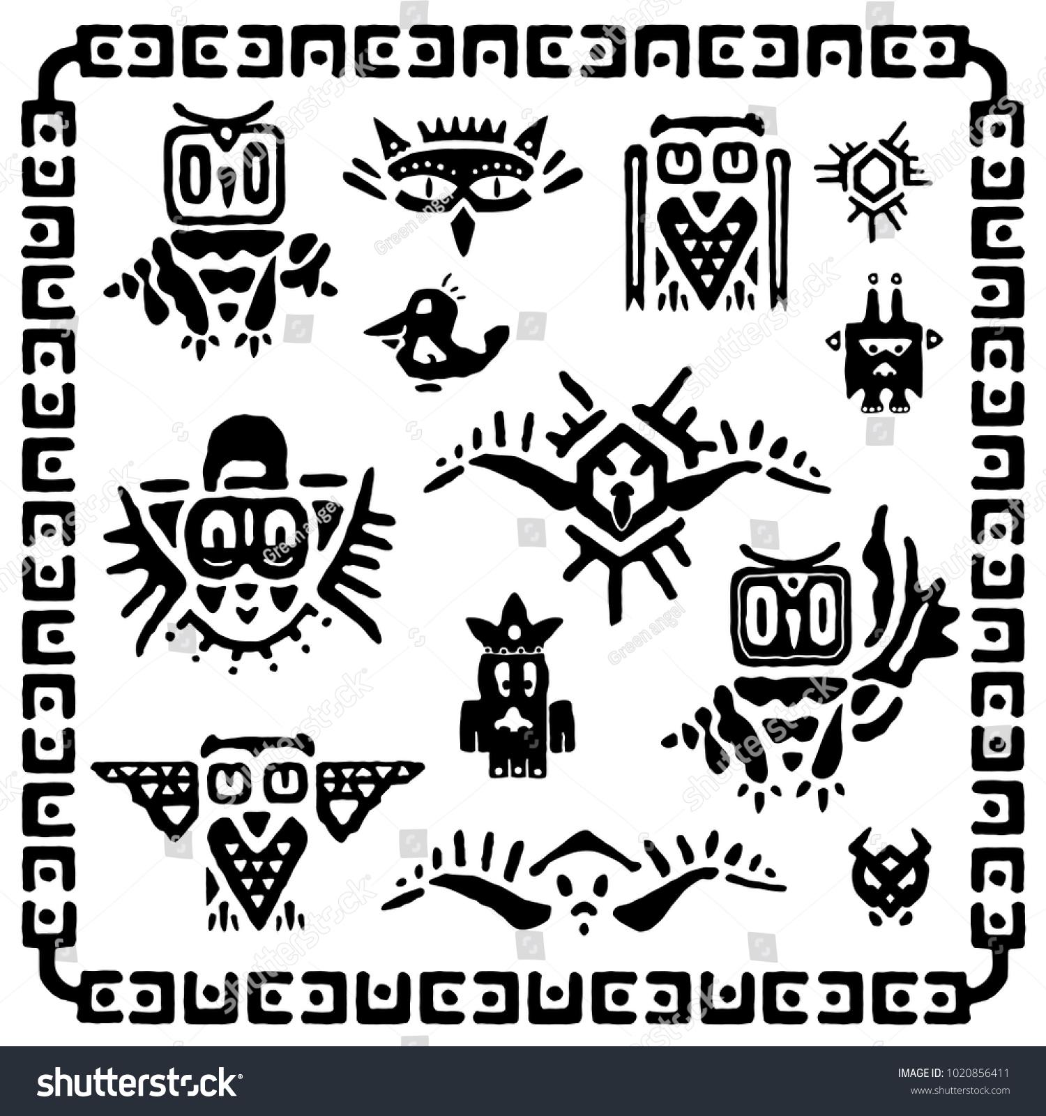 Set Tribal Owls Ancient Maya Elements Stock Vector 1020856411