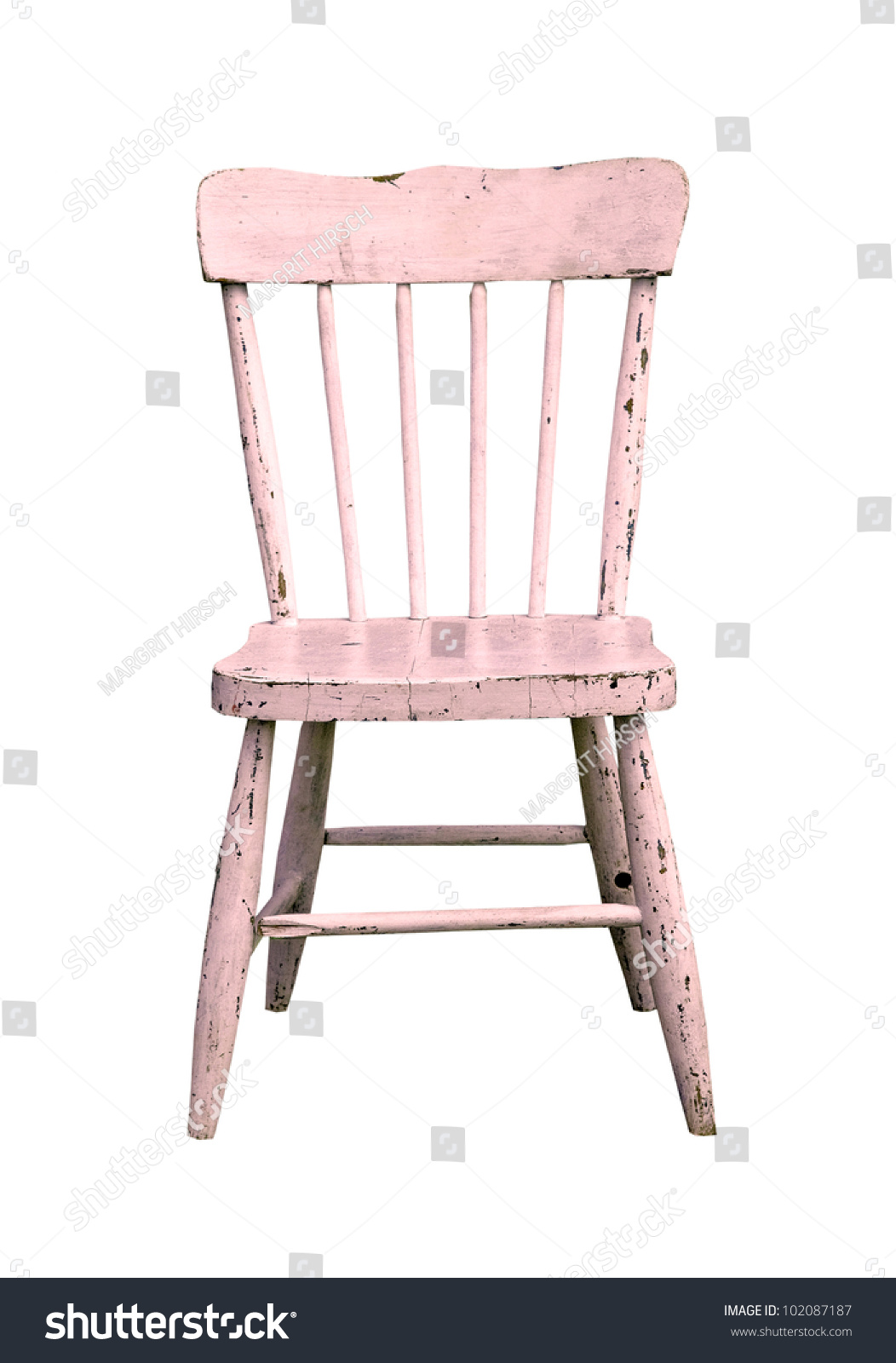 Aged Pink Wooden Child S Chair On A White Background Stock
