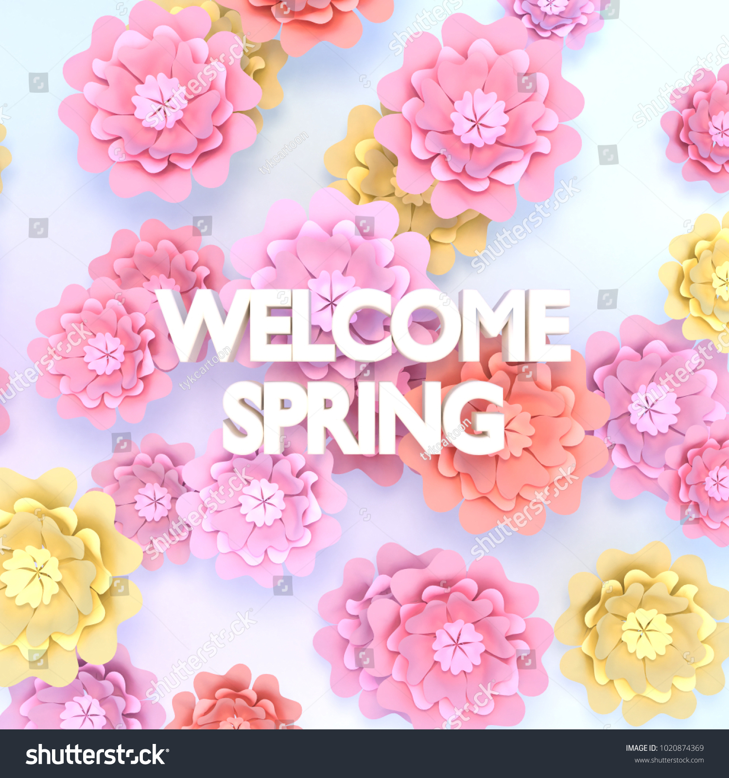 Beautiful Spring Flowers Paper Crafts Welcome Stock Illustration