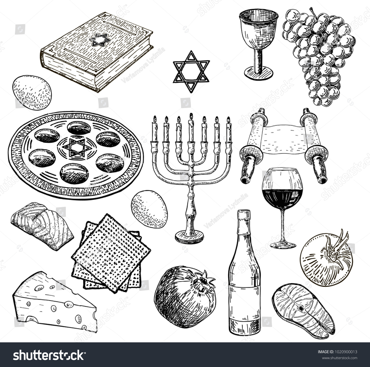 Vector set of sketches on the theme of passover attributes and symbols of the jewish