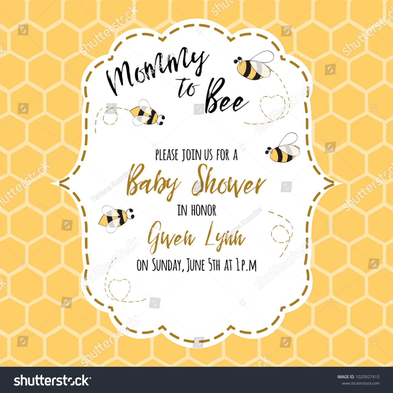 Baby Shower Invitation Template Text Mommy Stock Vector 1020927415 ...