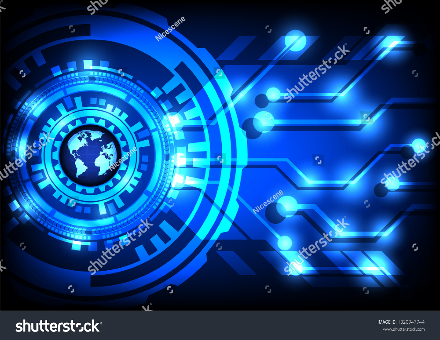 Abstract Technology Blue World Globe Digital Stock Vector Royalty Circuit Design Online With Line Background Illustration Communication Internet