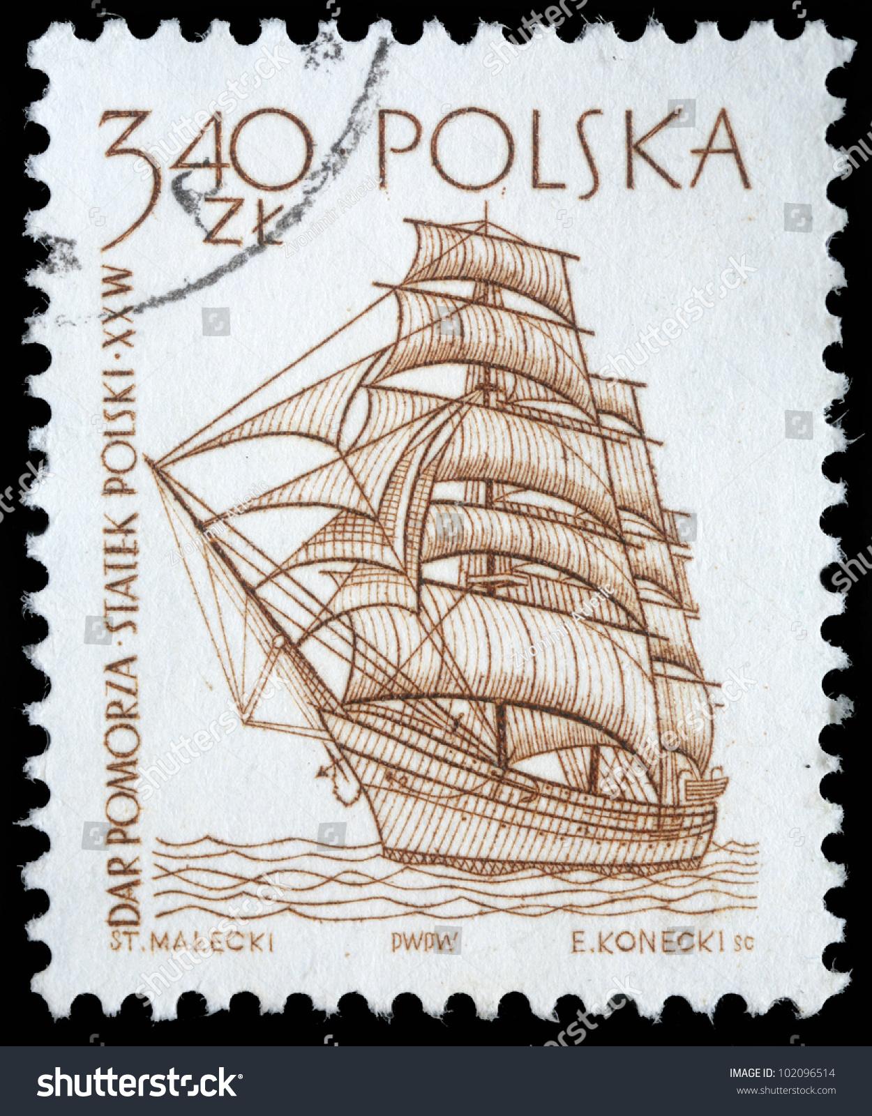 poland circa 1950s vintage postage stamp stock photo 102096514