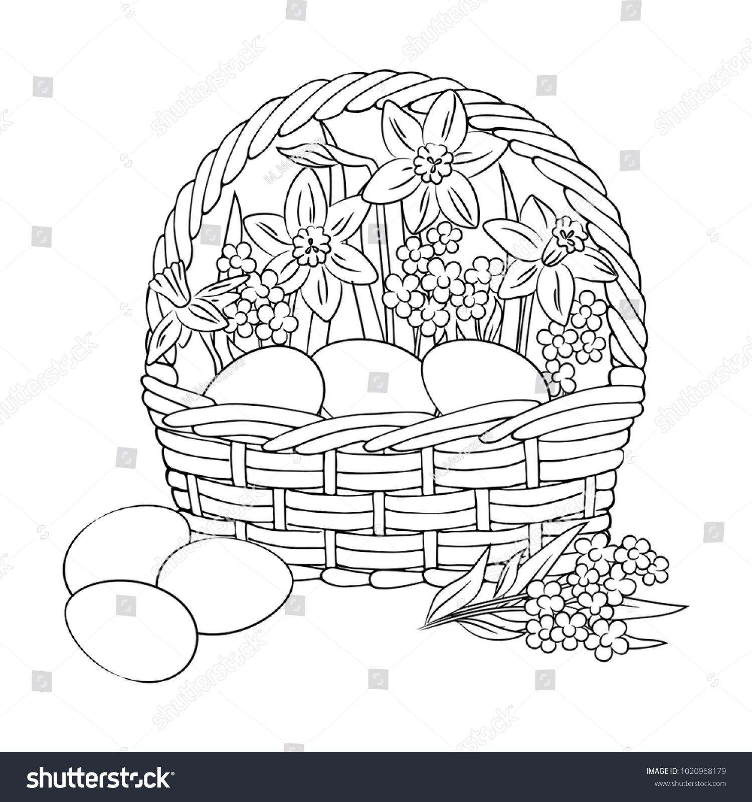Vector Contour Easter Eggs Basket Flowers Stock Vector (Royalty Free ...