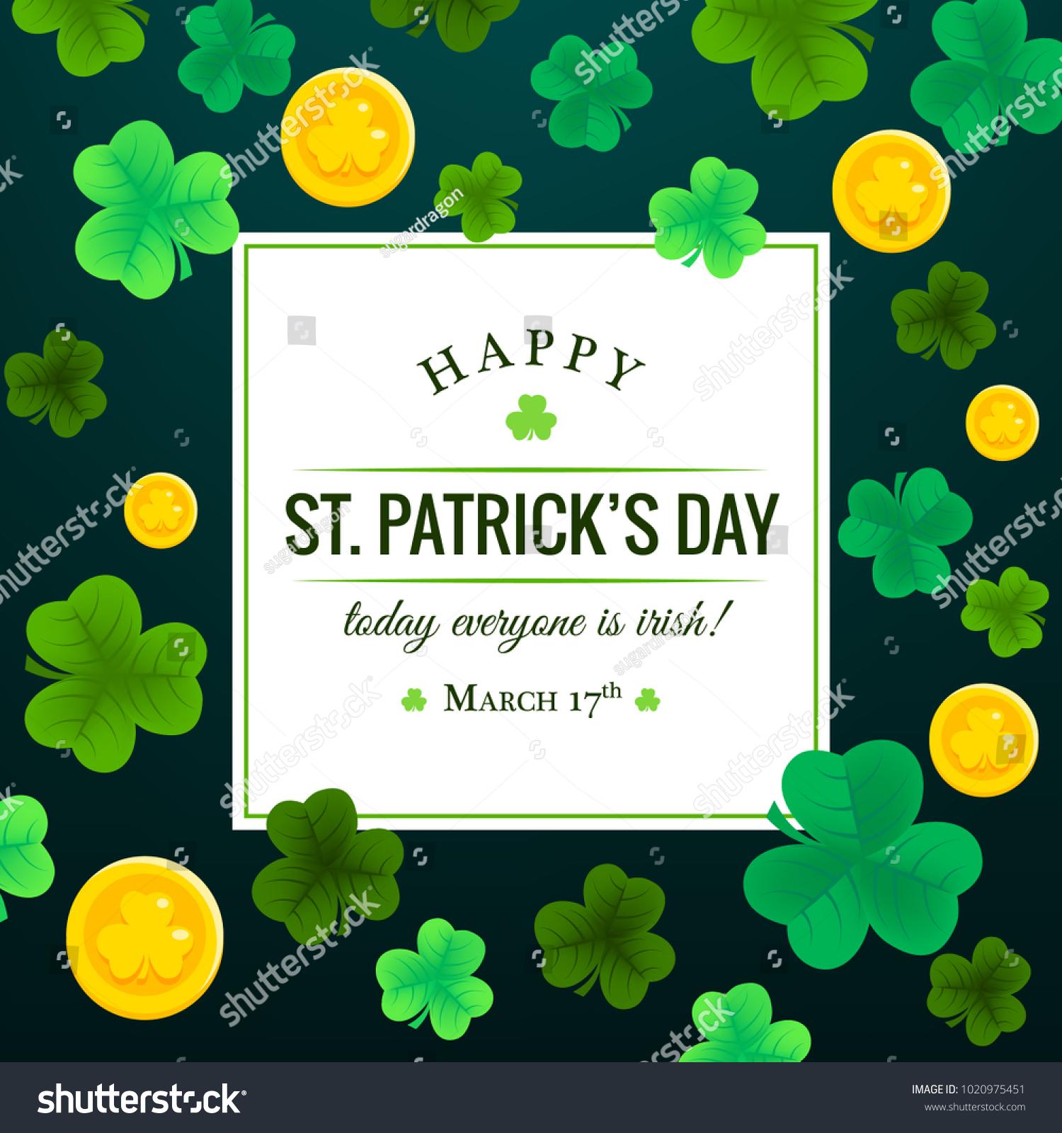 Happy St Patricks Day Invitation Wallpaper Stock Vector Royalty