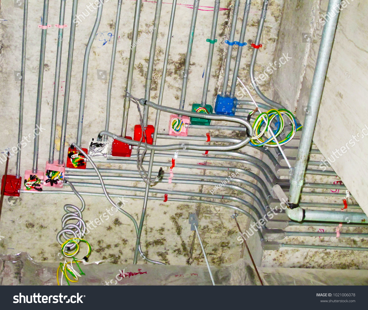 Installation Conduit Wiring Work Electrical System Stock Photo Edit And For Under Concrete Floor At Construction Site