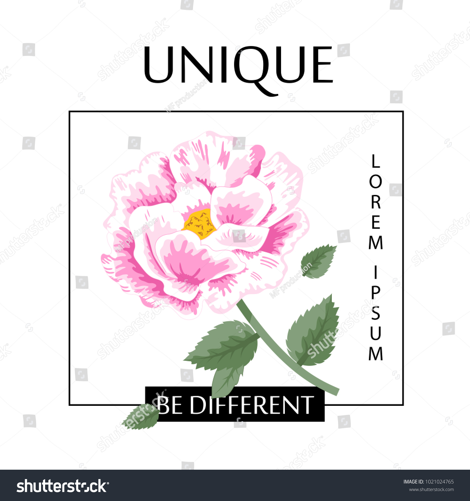 Flower Slogan Isolated On White Background Stock Vector Royalty