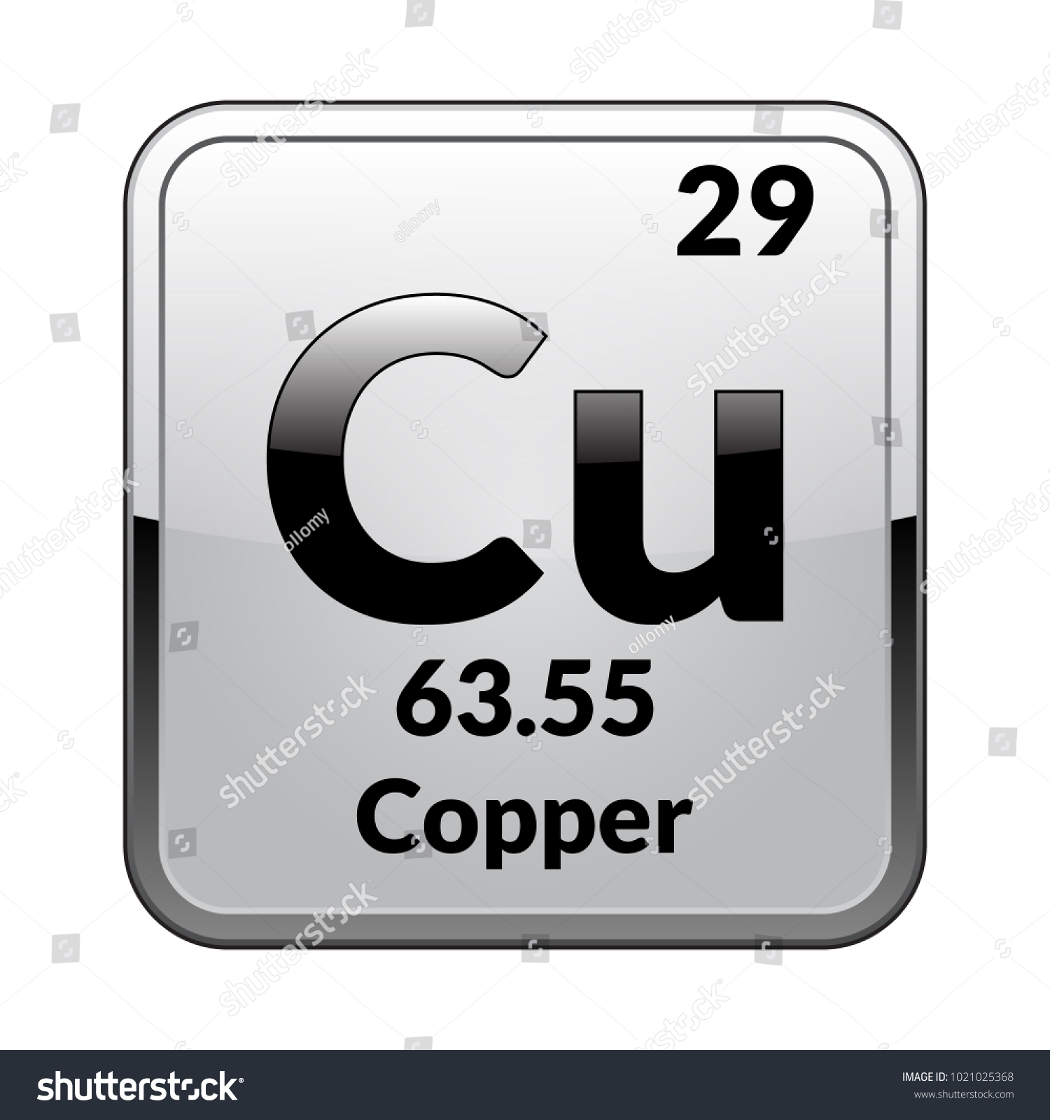 Copper Symbol Chemical Element Periodic Table On Stock Vector