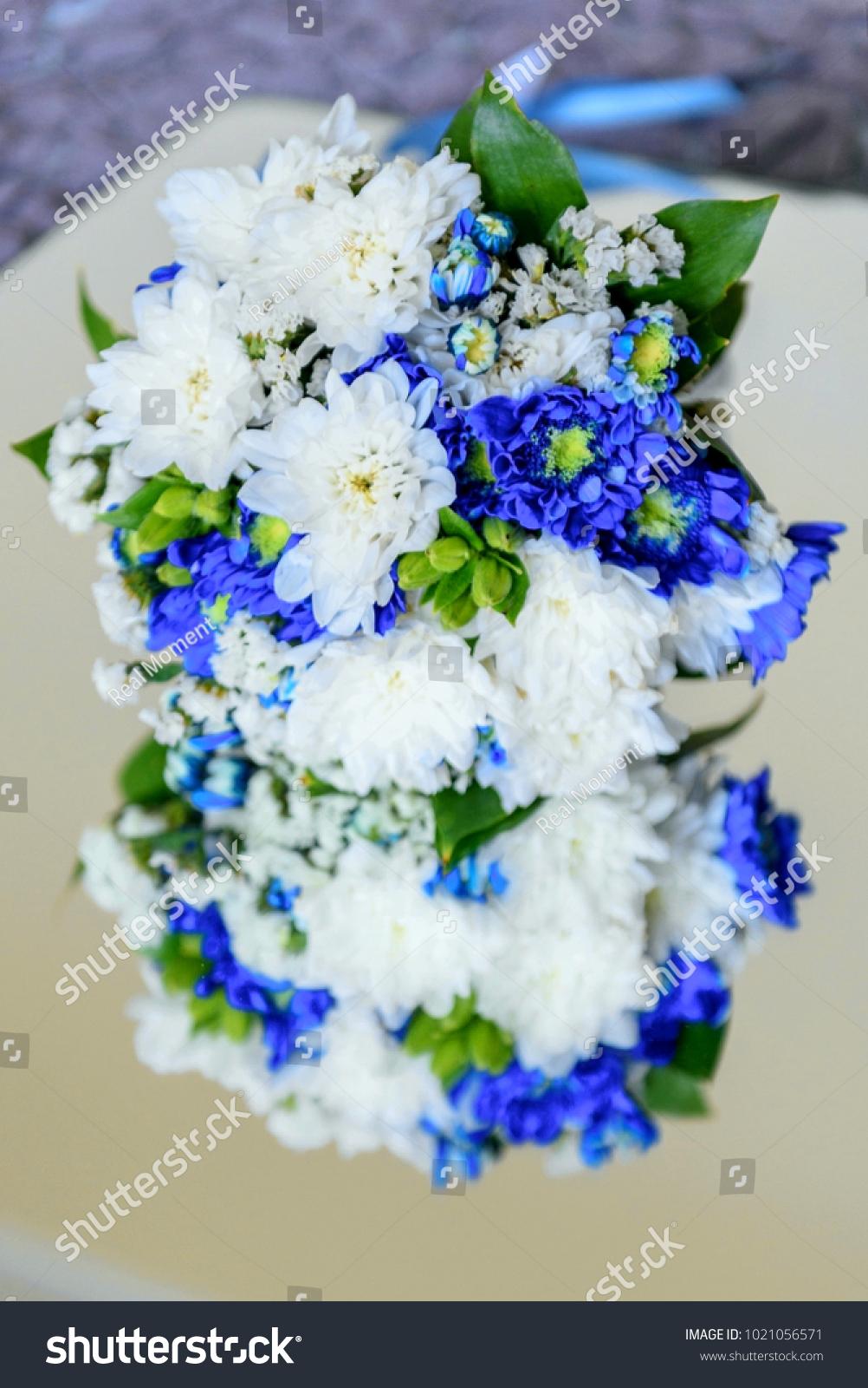 Wedding Bouquet White Blue Chrysanthemum Flowers Stock Photo (Safe ...