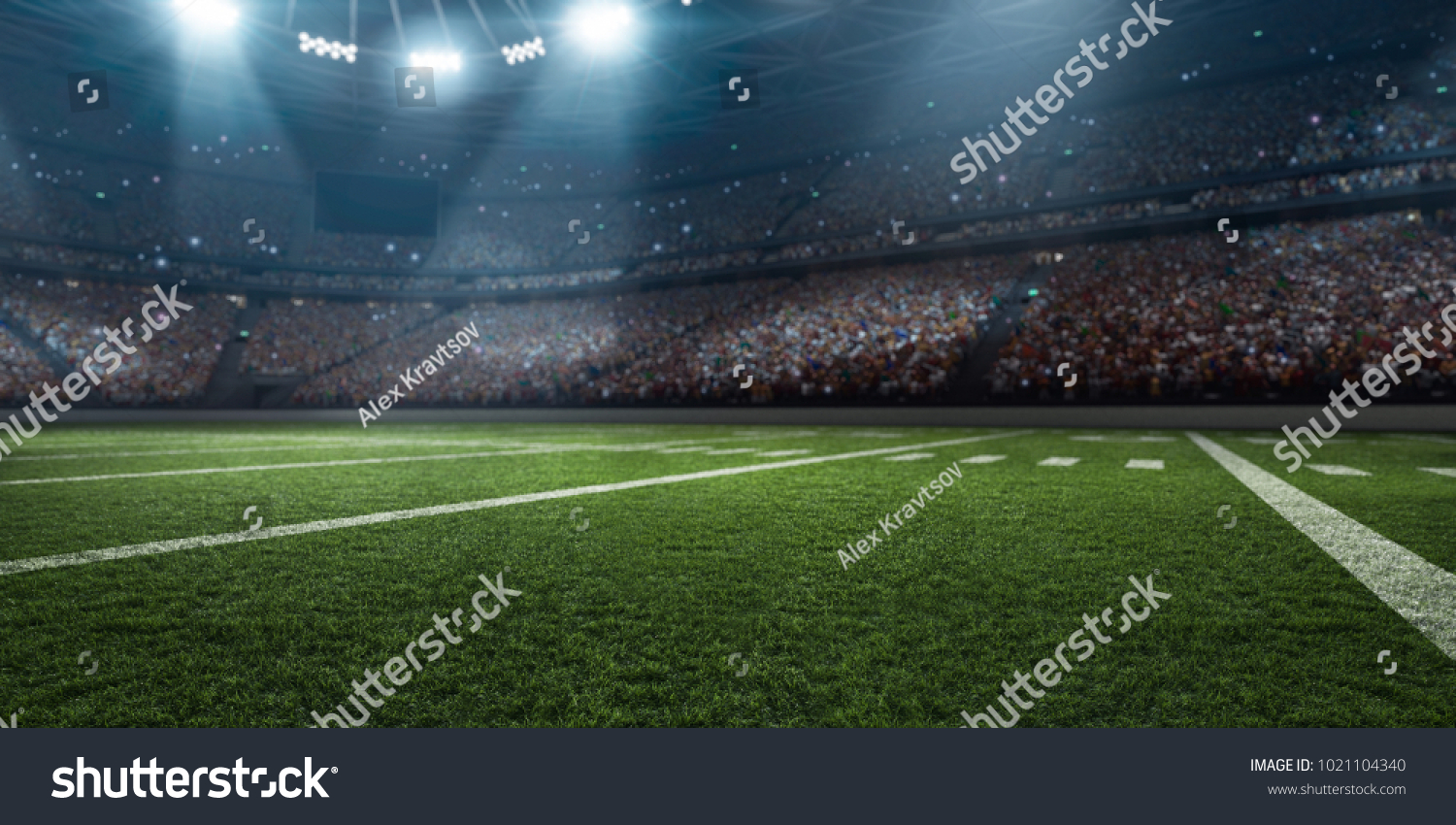 Dramatic 3D professional American football arena with green grass and rays of light #1021104340