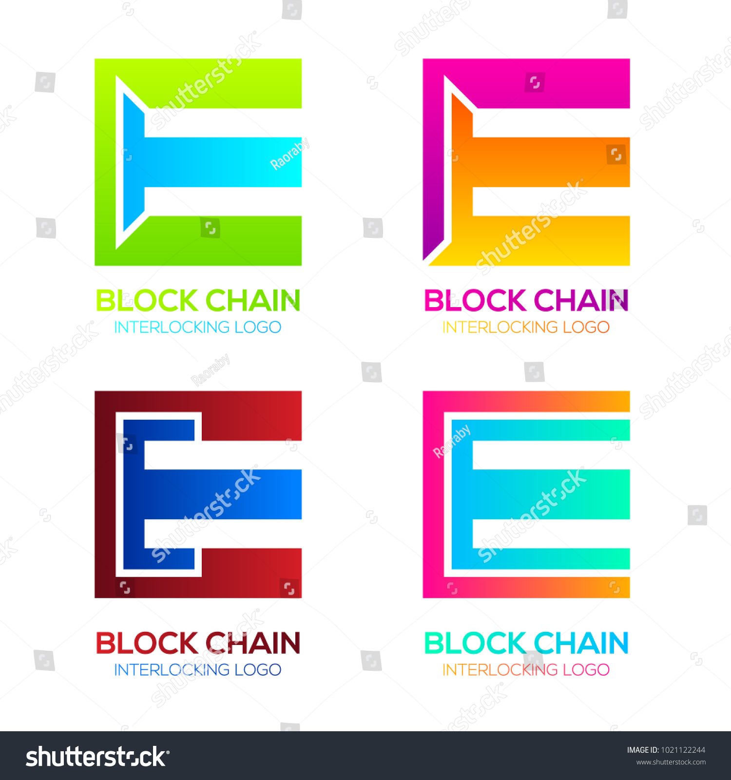 Letter E Logos Colorful Shape Blockchain Stock Vector