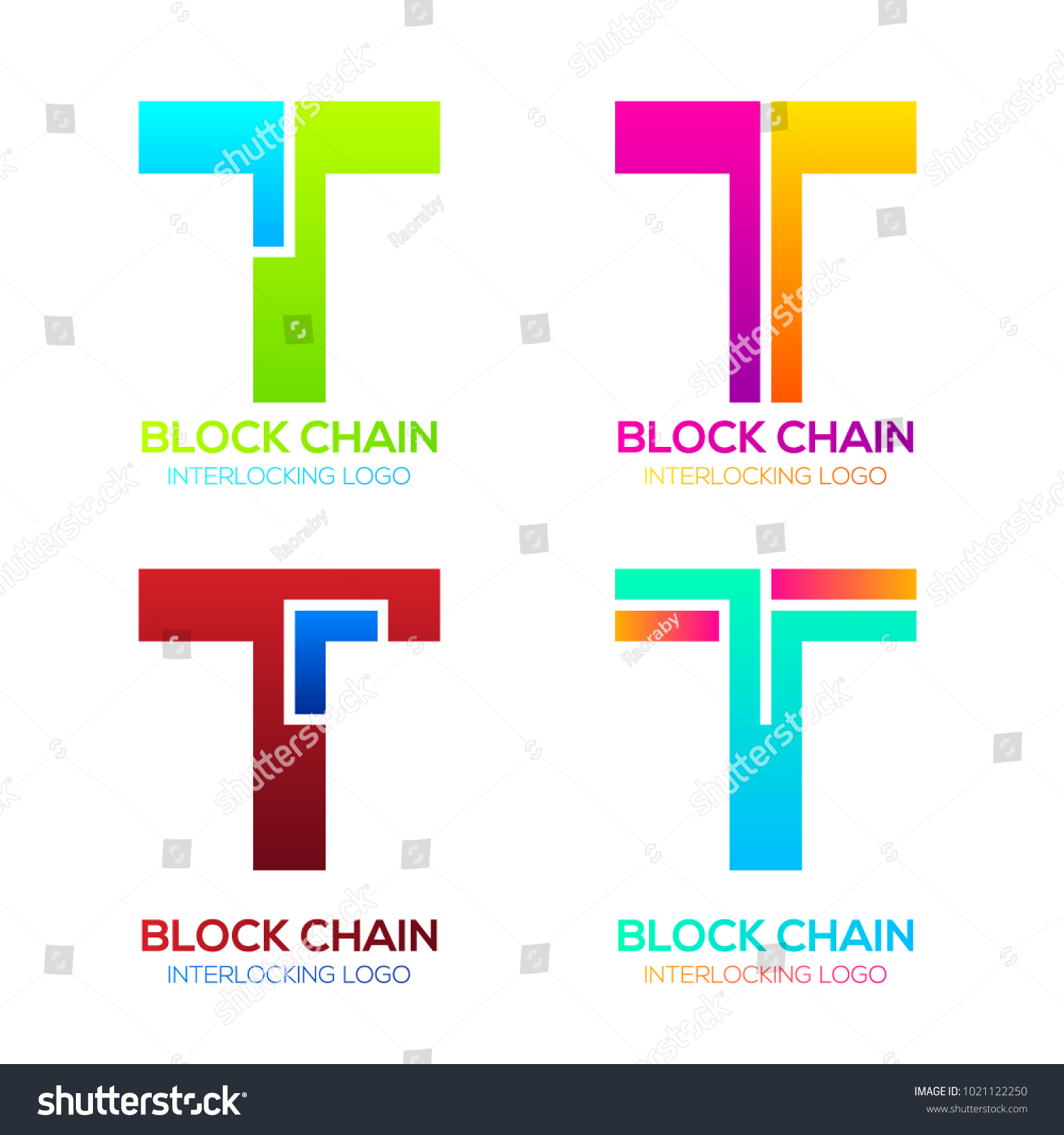 Letter T Logos Colorful Shape Blockchain Stock Vector
