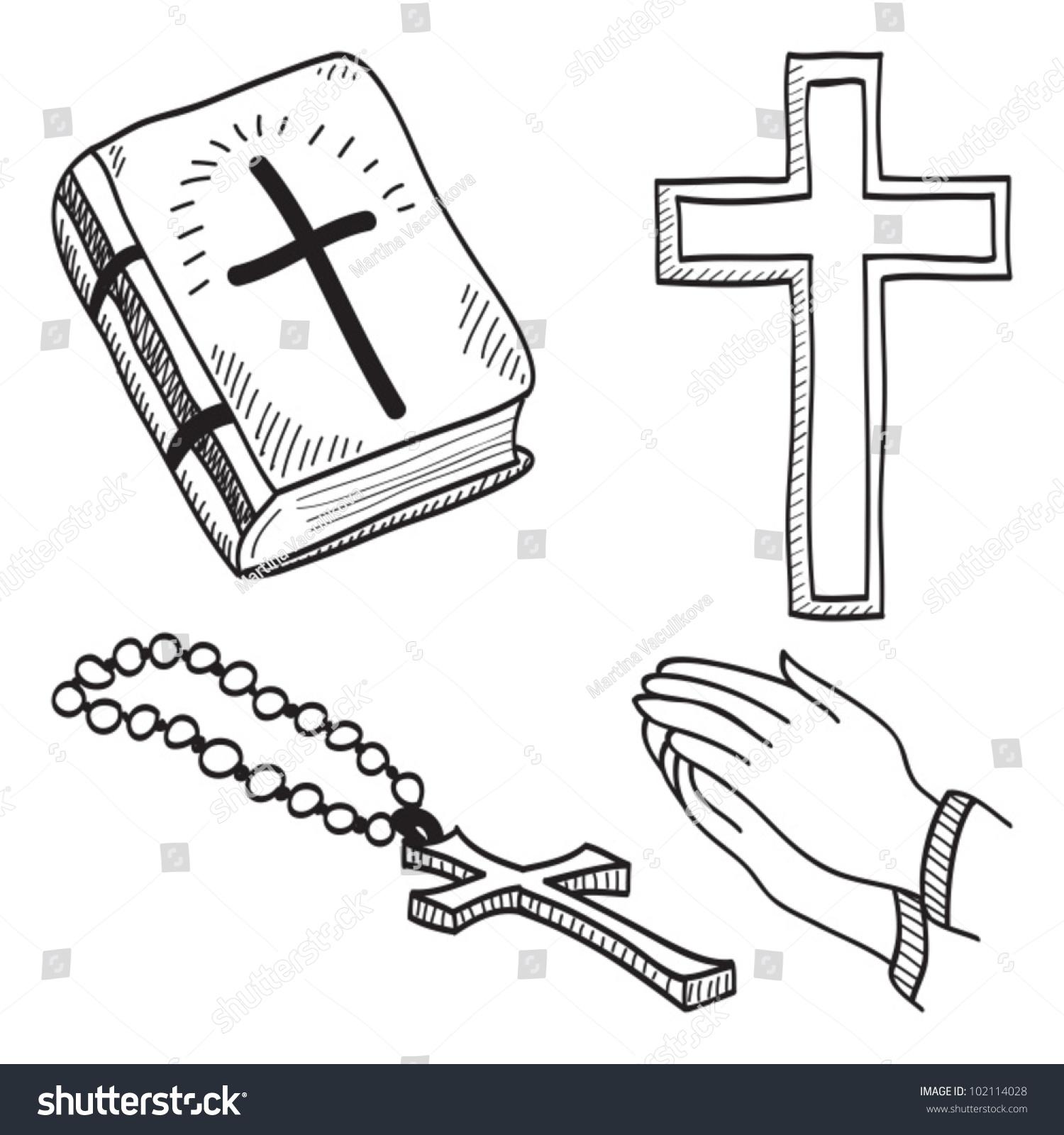 christian handdrawn symbols illustration cross bible stock vector