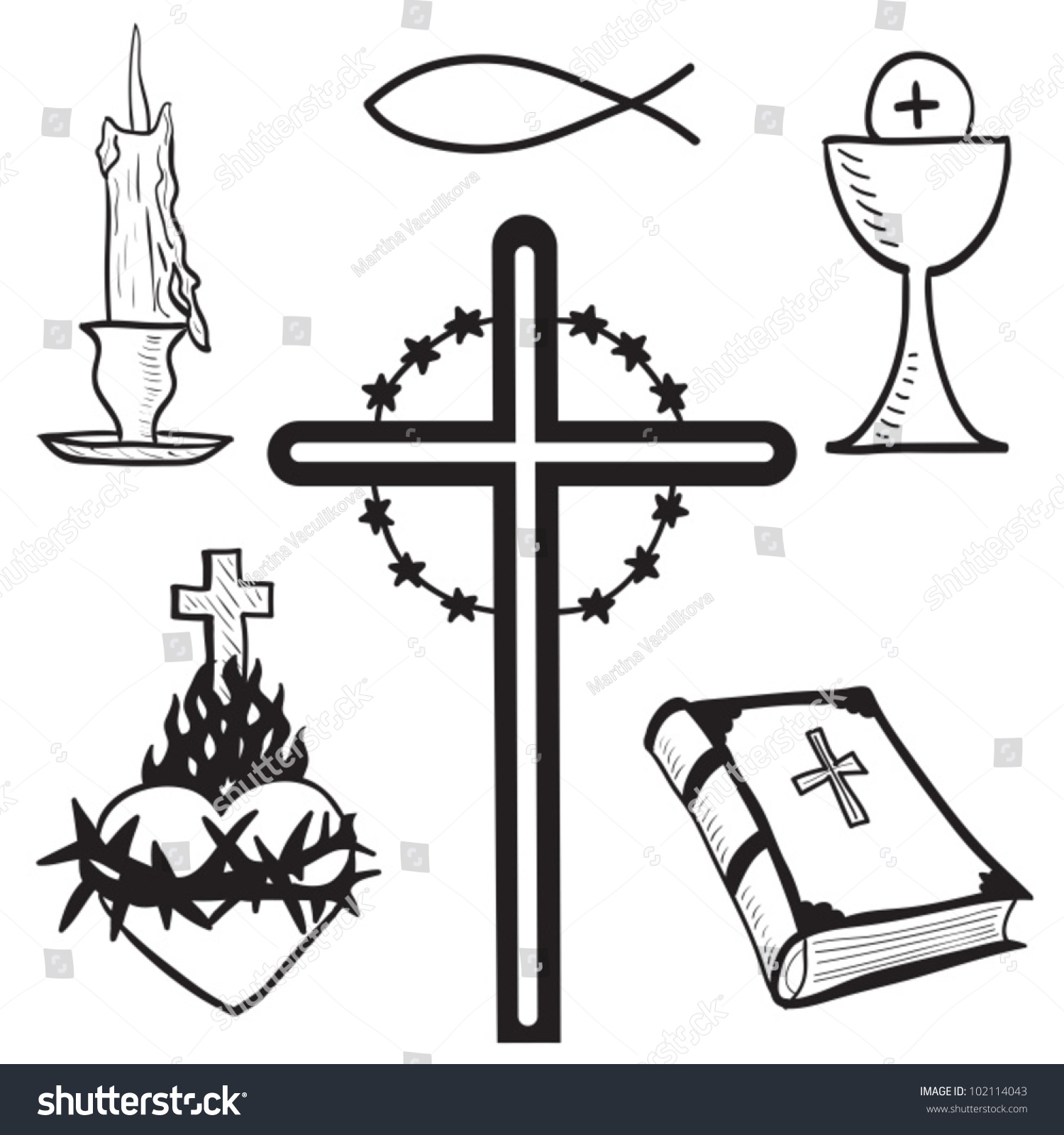 Christian handdrawn symbols illustration candle cross stock vector christian hand drawn symbols illustration candle cross bible fish heart buycottarizona Image collections