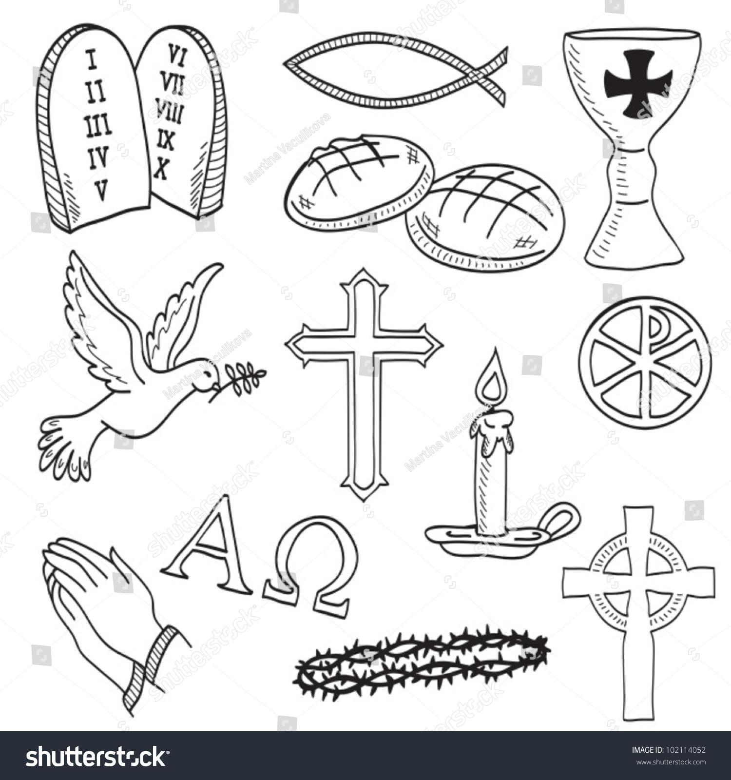 Christian Handdrawn Symbols Illustration Cross Hands Stock Vector