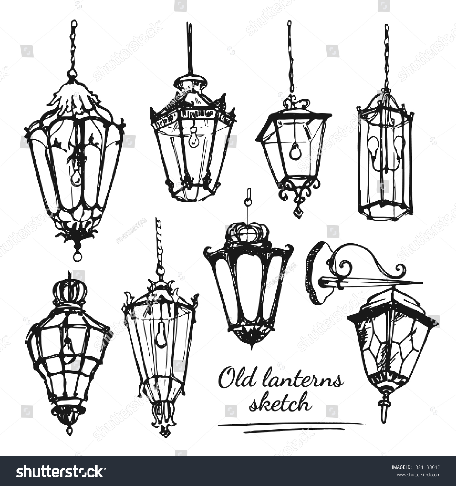 Drawing Old Lanterns On The White Background Sketch Of Different Street Retro Lamps