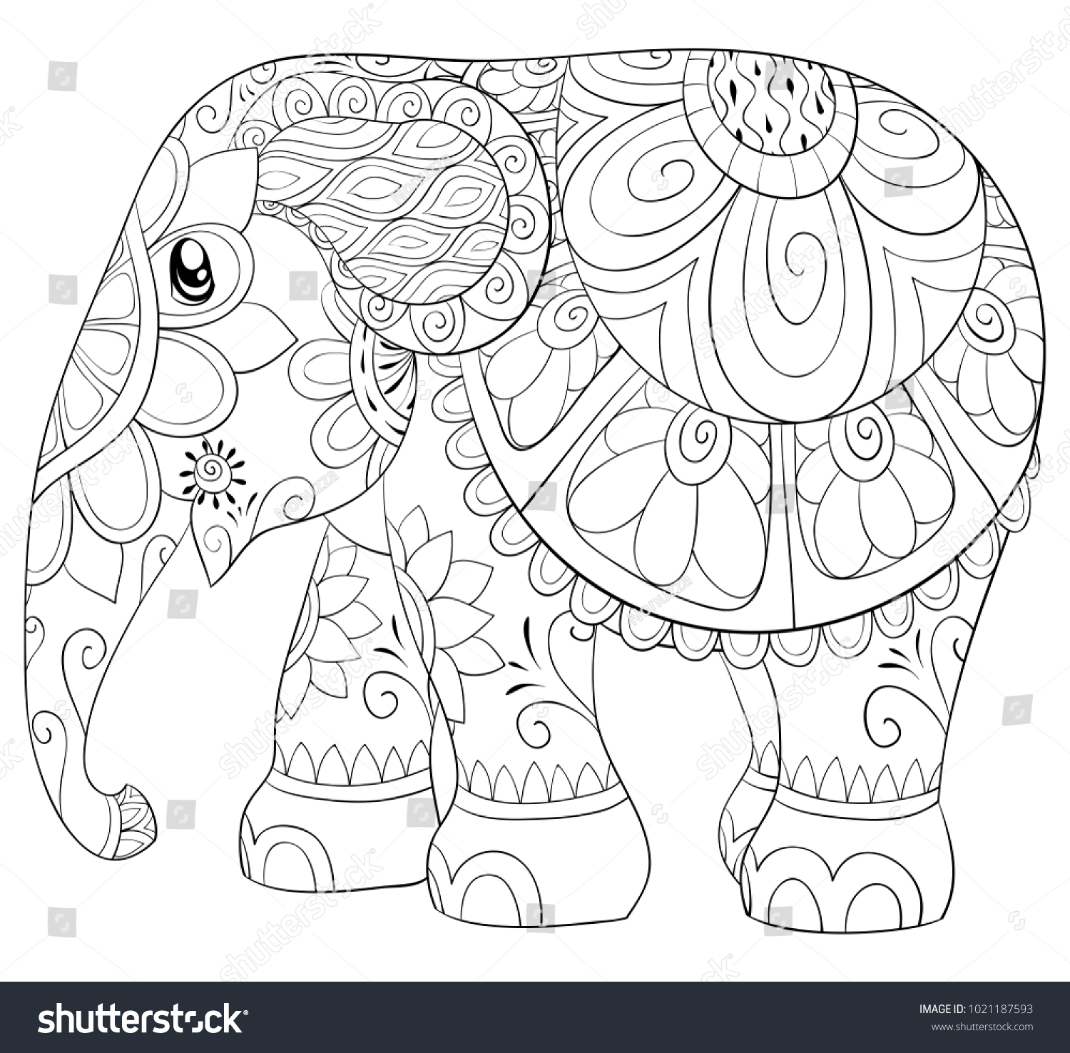 Adult Coloring Pagebook Cute Elephant Relaxing Stock Vector HD ...