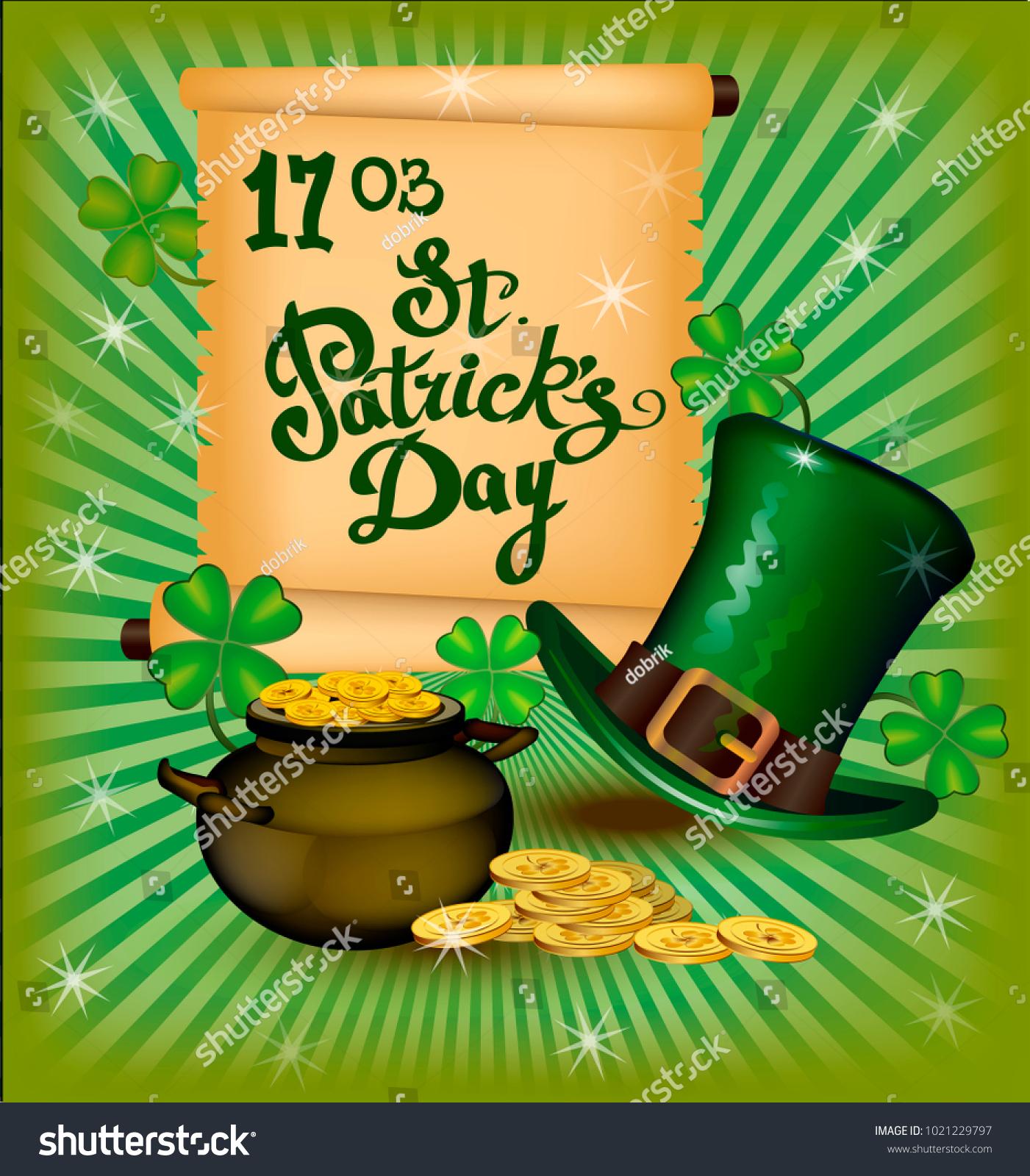 St Patricks Day Greeting Vector Illustration Stock Vector 1021229797