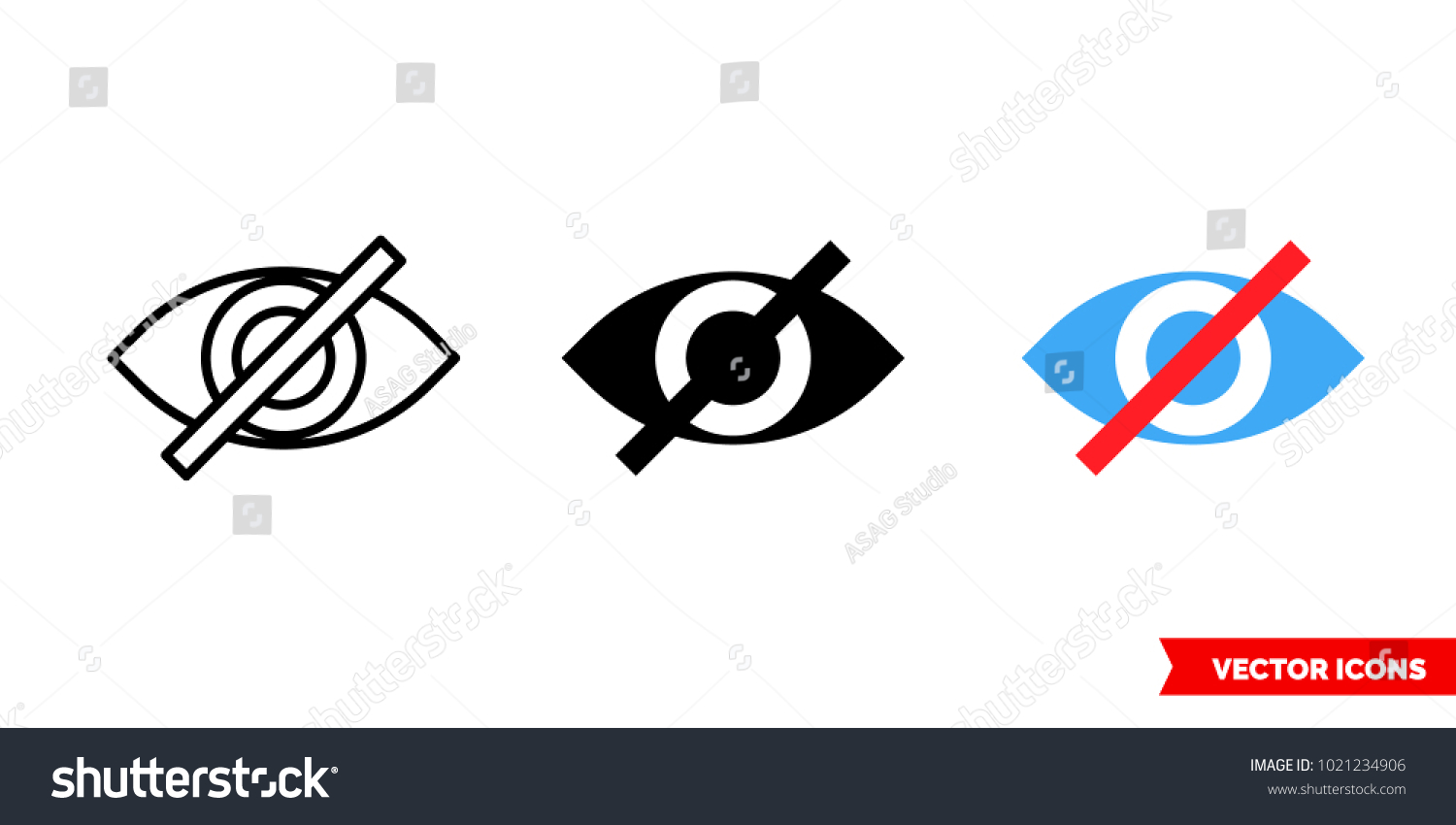 Invisible Symbol Icon 3 Types Color Stock Vector Royalty Free