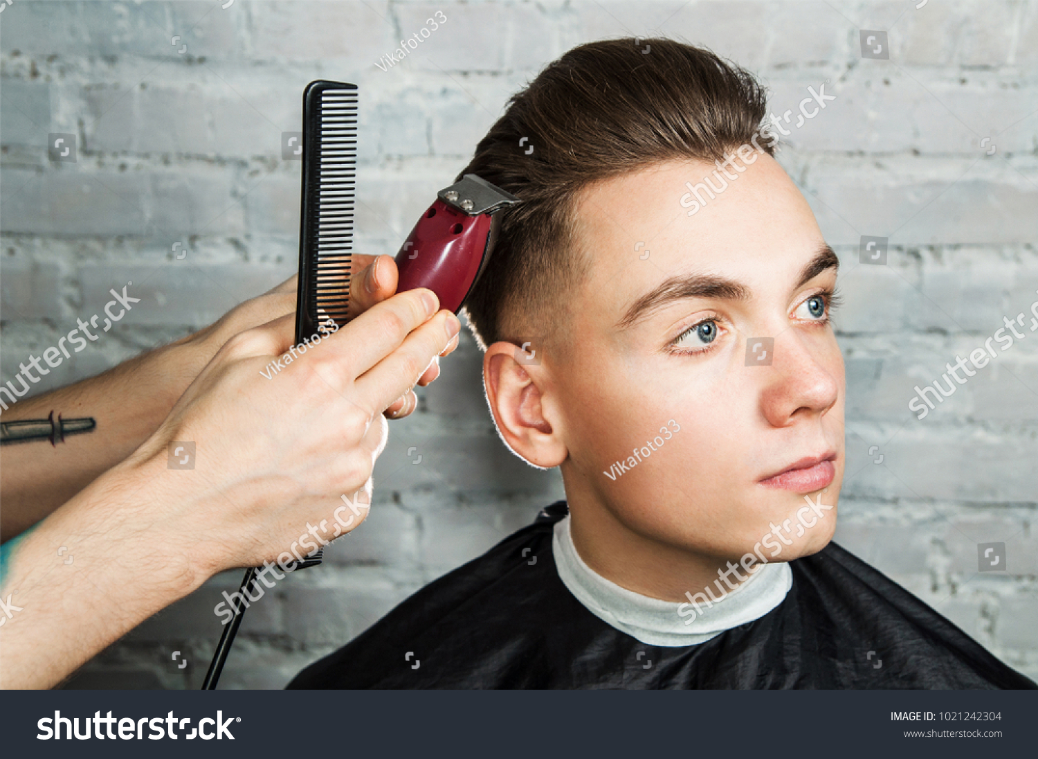 Master Cuts Hair Young Guy Barbershop Stock Photo Edit Now