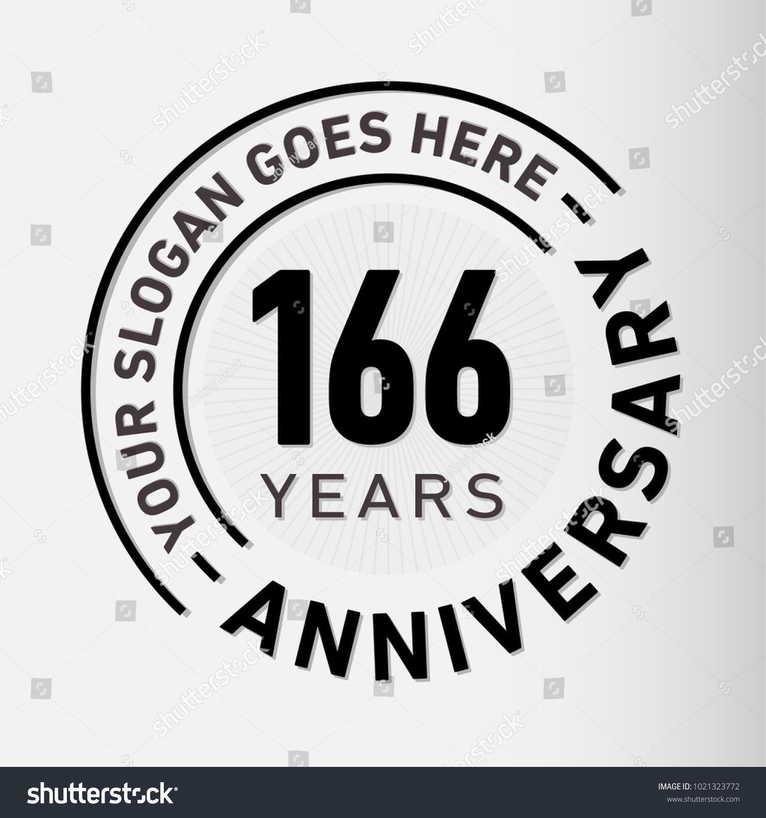 166 years anniversary logo template vector のベクター画像素材