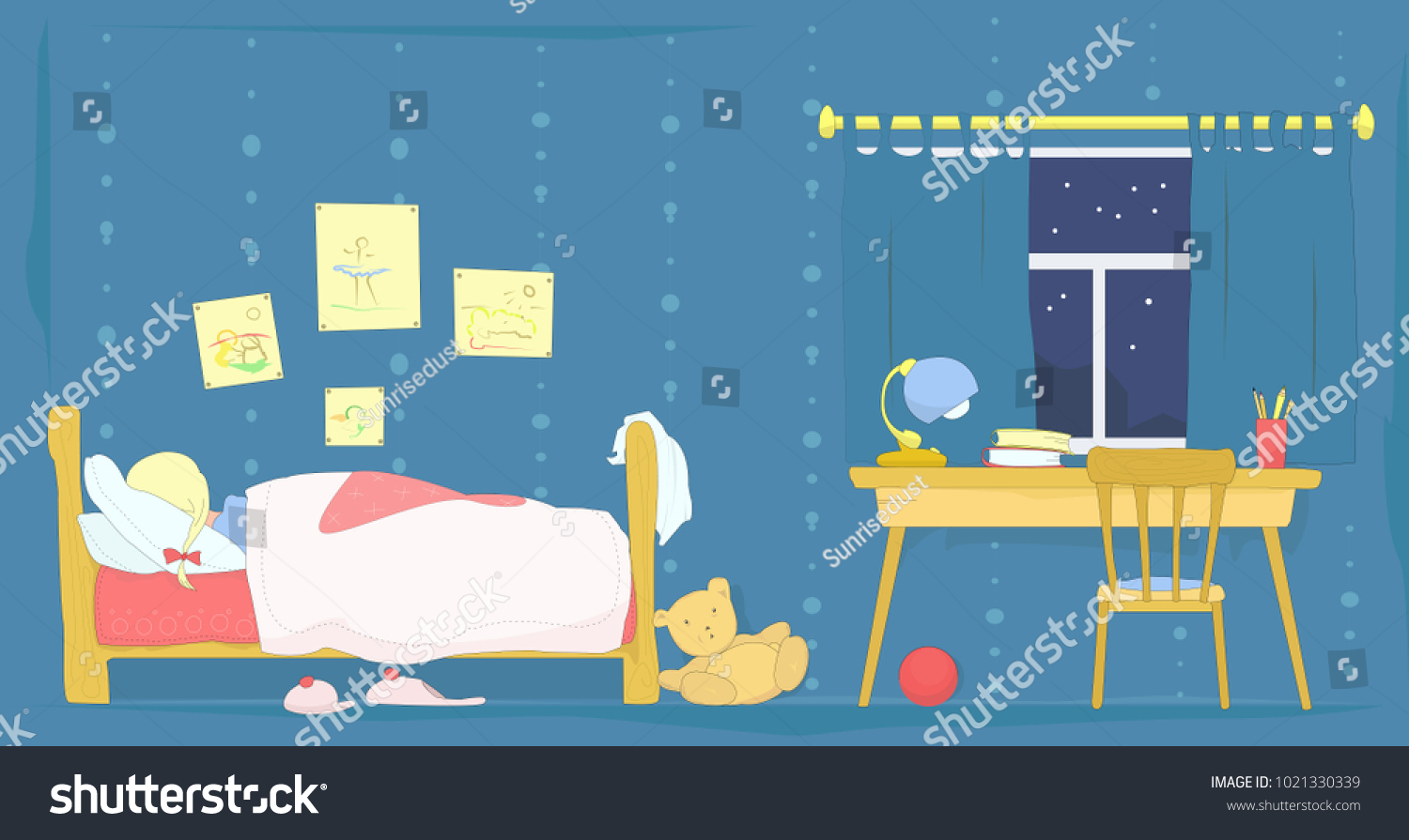 Hand Drawn Vector Illustration Of A Kids Bedroom At Night With Sleeping Little Girl Cartoon