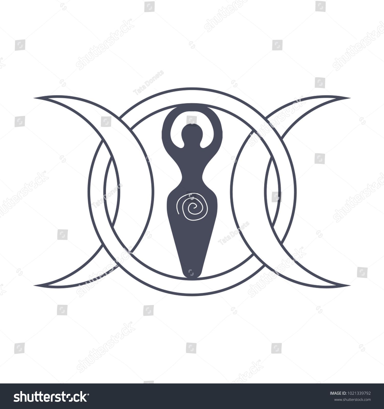 Vector Illustration Wiccan Community Spiral Goddess Stock Vector