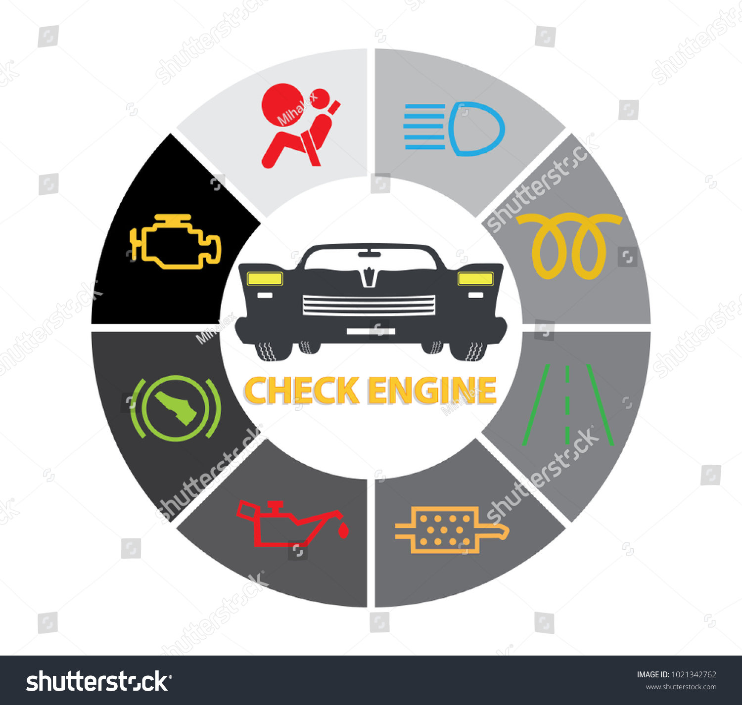 Set Multiple Car Instrument Cluster Icons Stock Vector Royalty Free