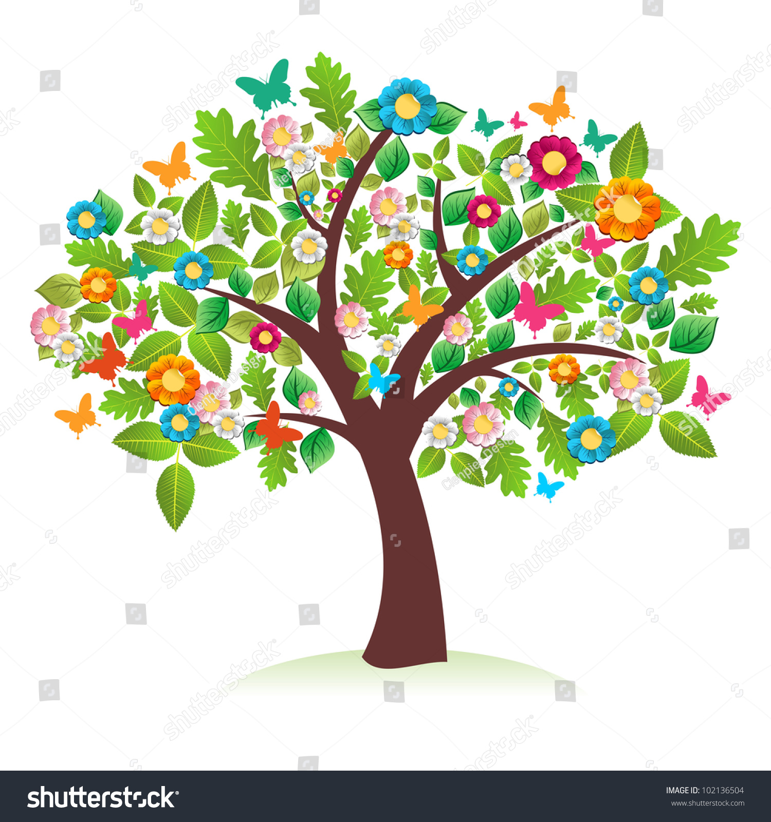 Abstract Spring Time Tree Composition Flowers Stock Vector 102136504 ...