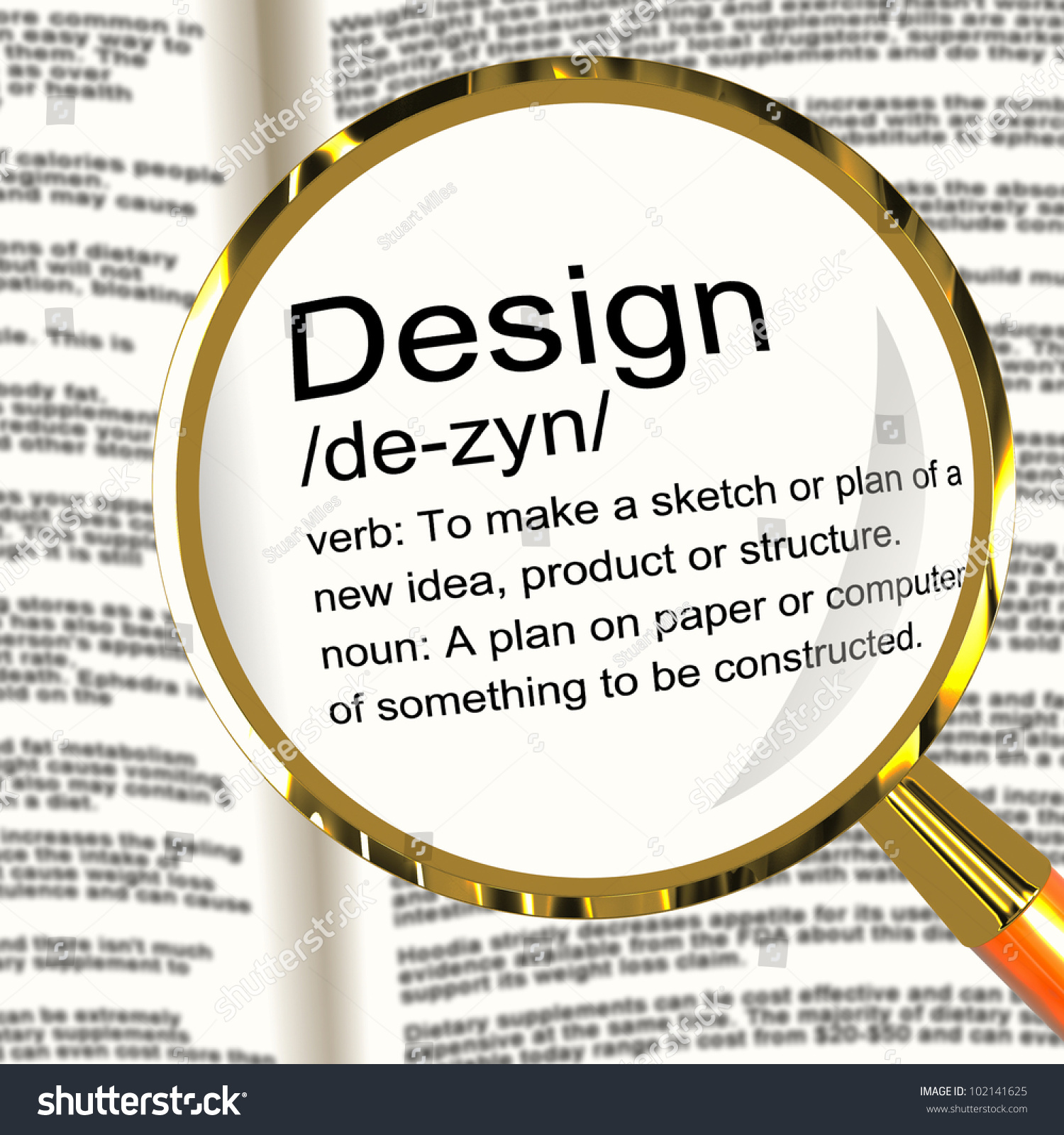 Design definition magnifier shows sketch plan artwork or for Define architect
