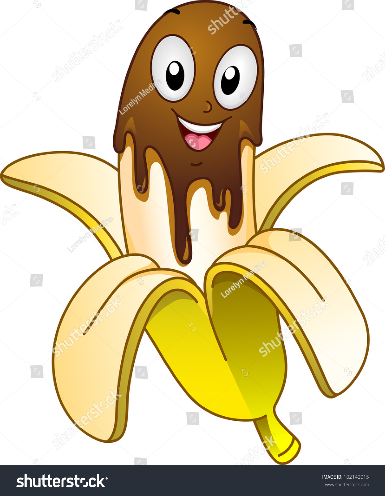 Mascot Illustration Featuring Banana Covered Chocolate ...