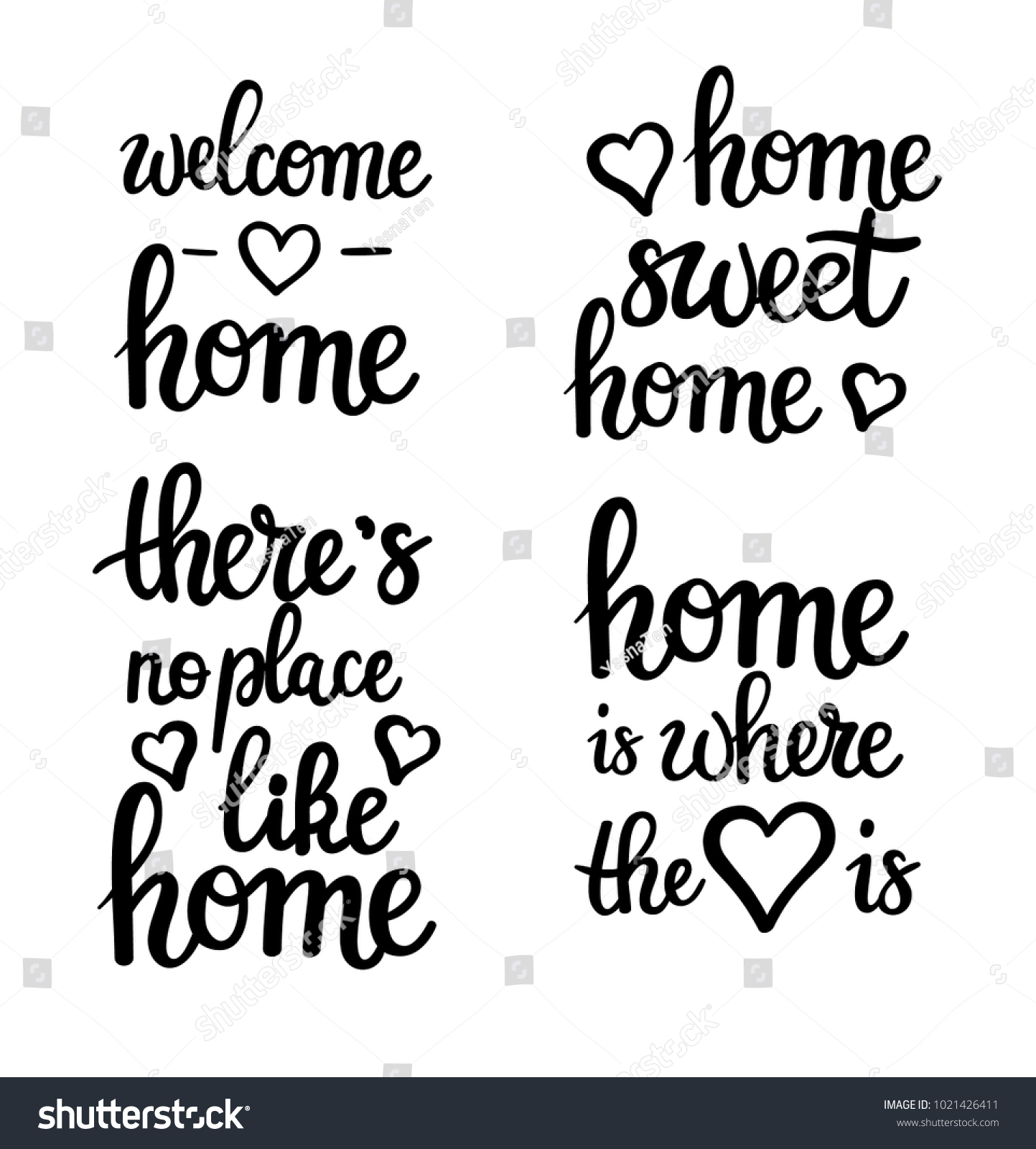 Home Motivational Quotes Lettering Sweet Welcome Stock Vector