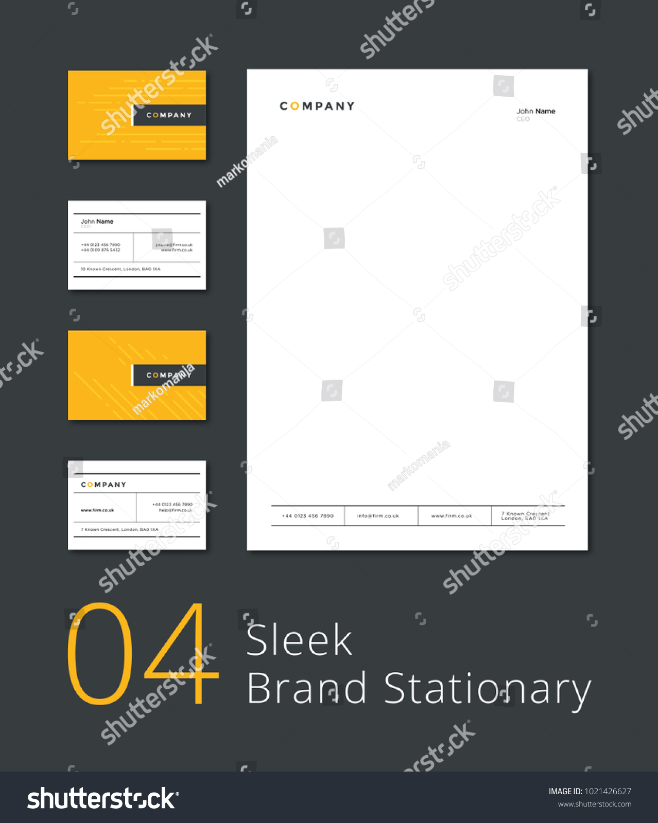 Sleek Stationary Template Business Card Letterhead Stock Vector ...
