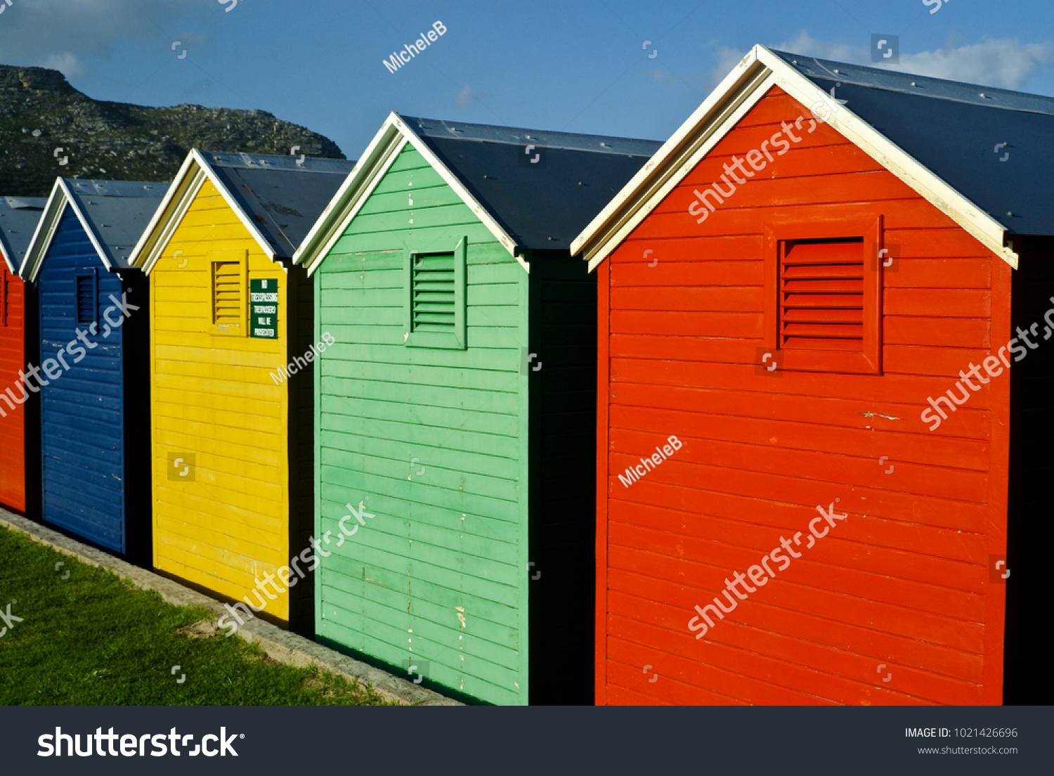 Colorful Changing Houses On Beach Fish Stock Photo 1021426696 ...