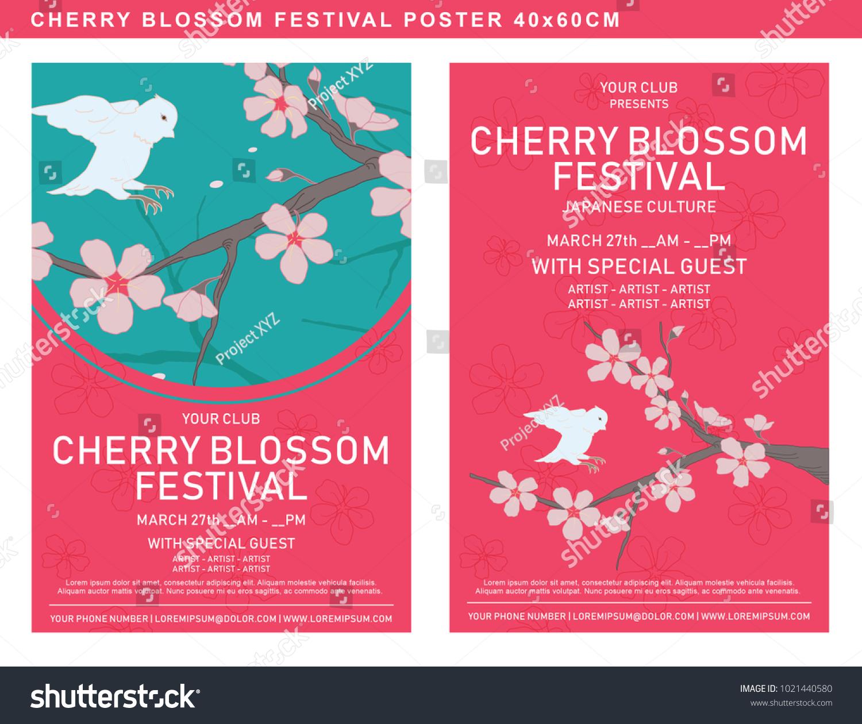 Poster Template Cherry Blossom Festival List Stock Vector (Royalty ...
