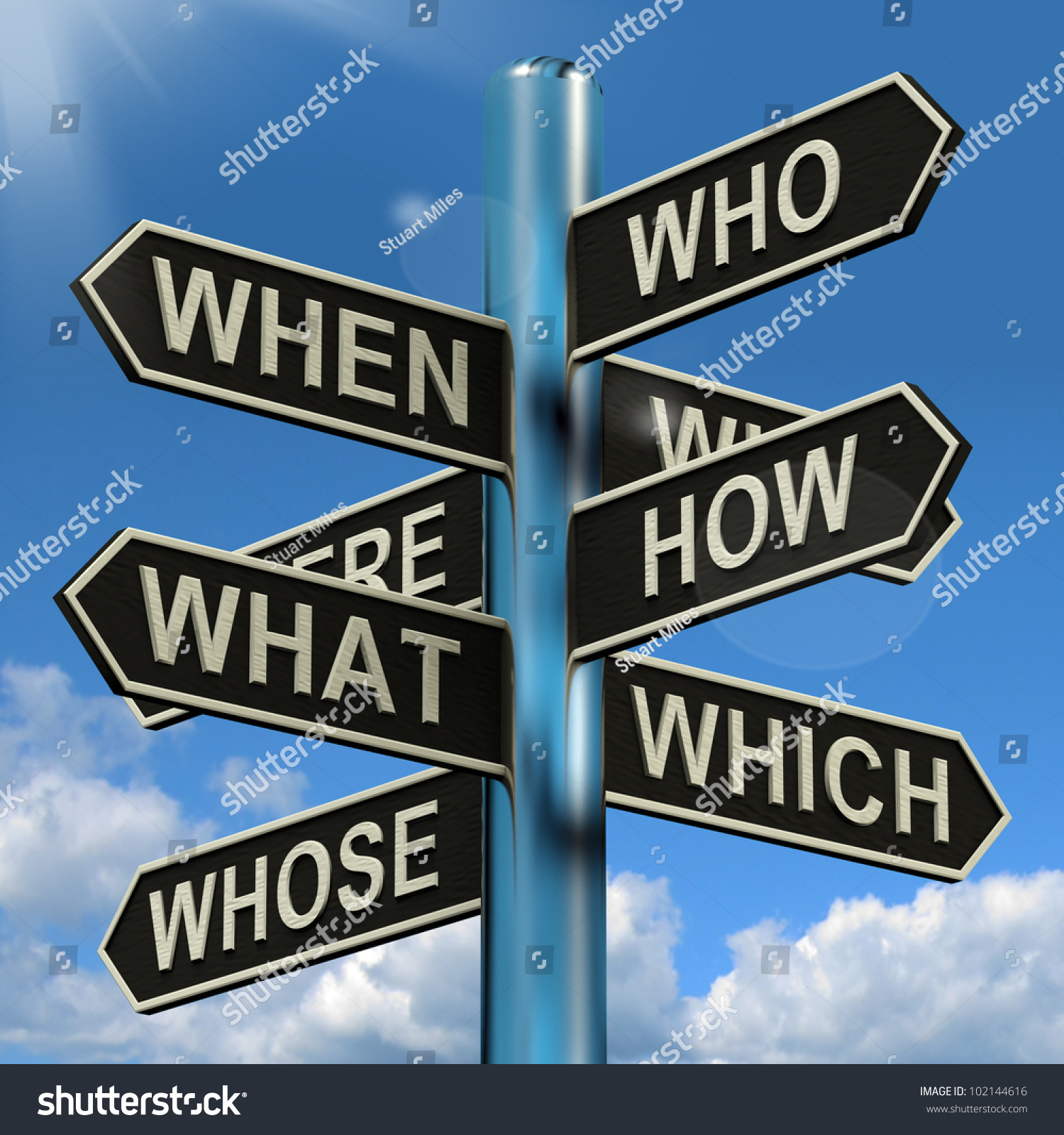 who what why when where signpost stock illustration 102144616