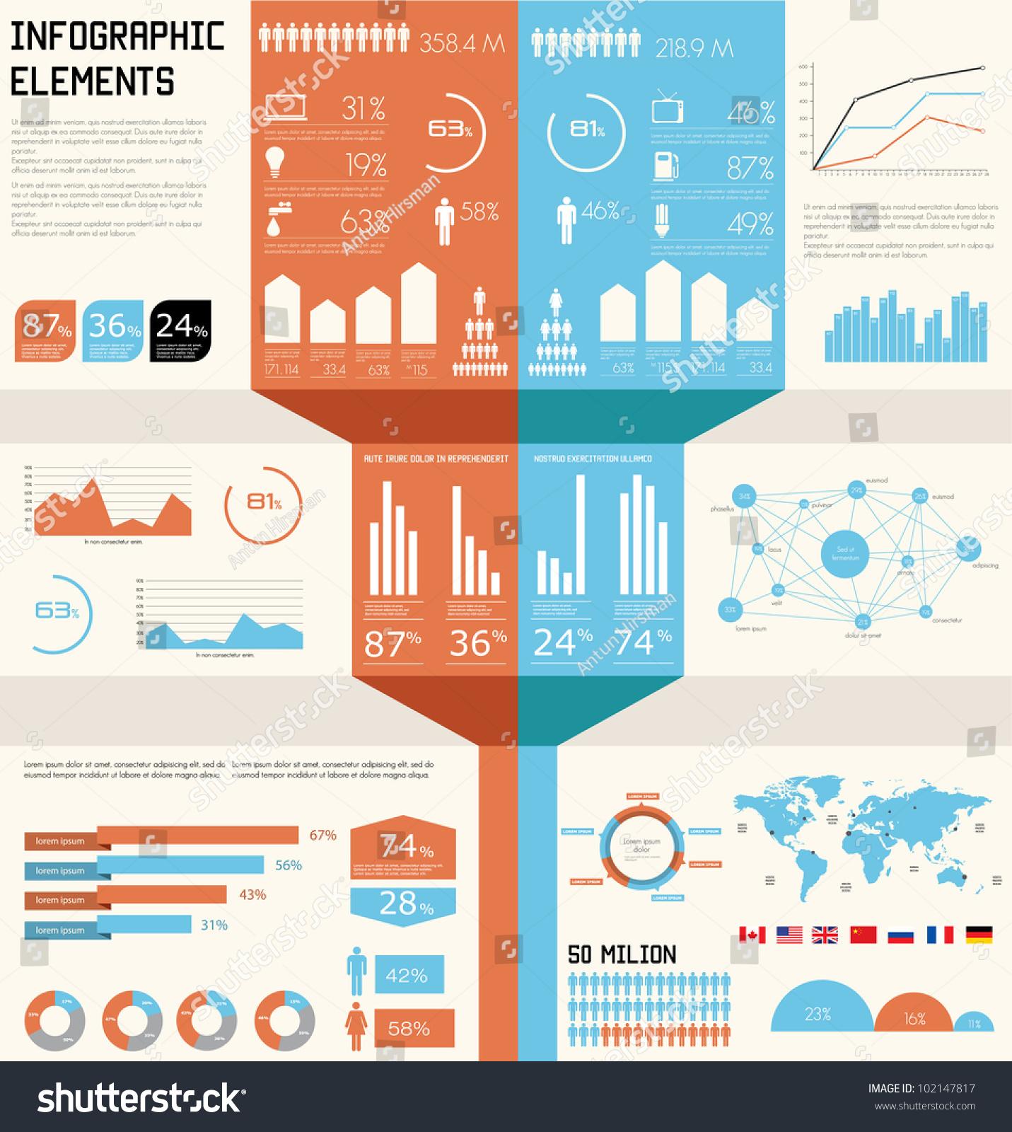 Vintage Infographics Set World Map Information Stock