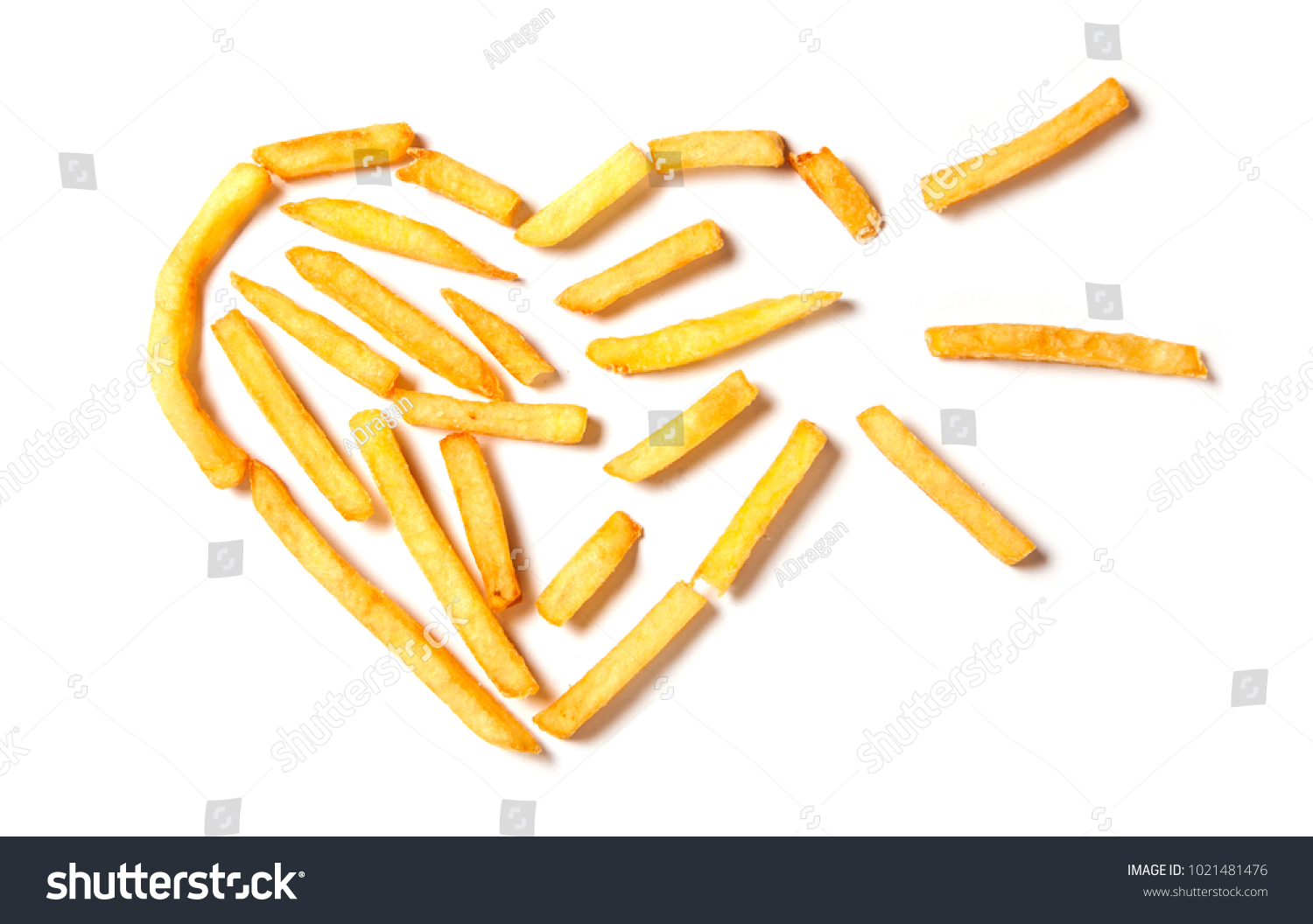 Fat kills french fries form tbroken stock photo 1021481476 fat kills french fries in the form of tbroken heart isolated on white background biocorpaavc