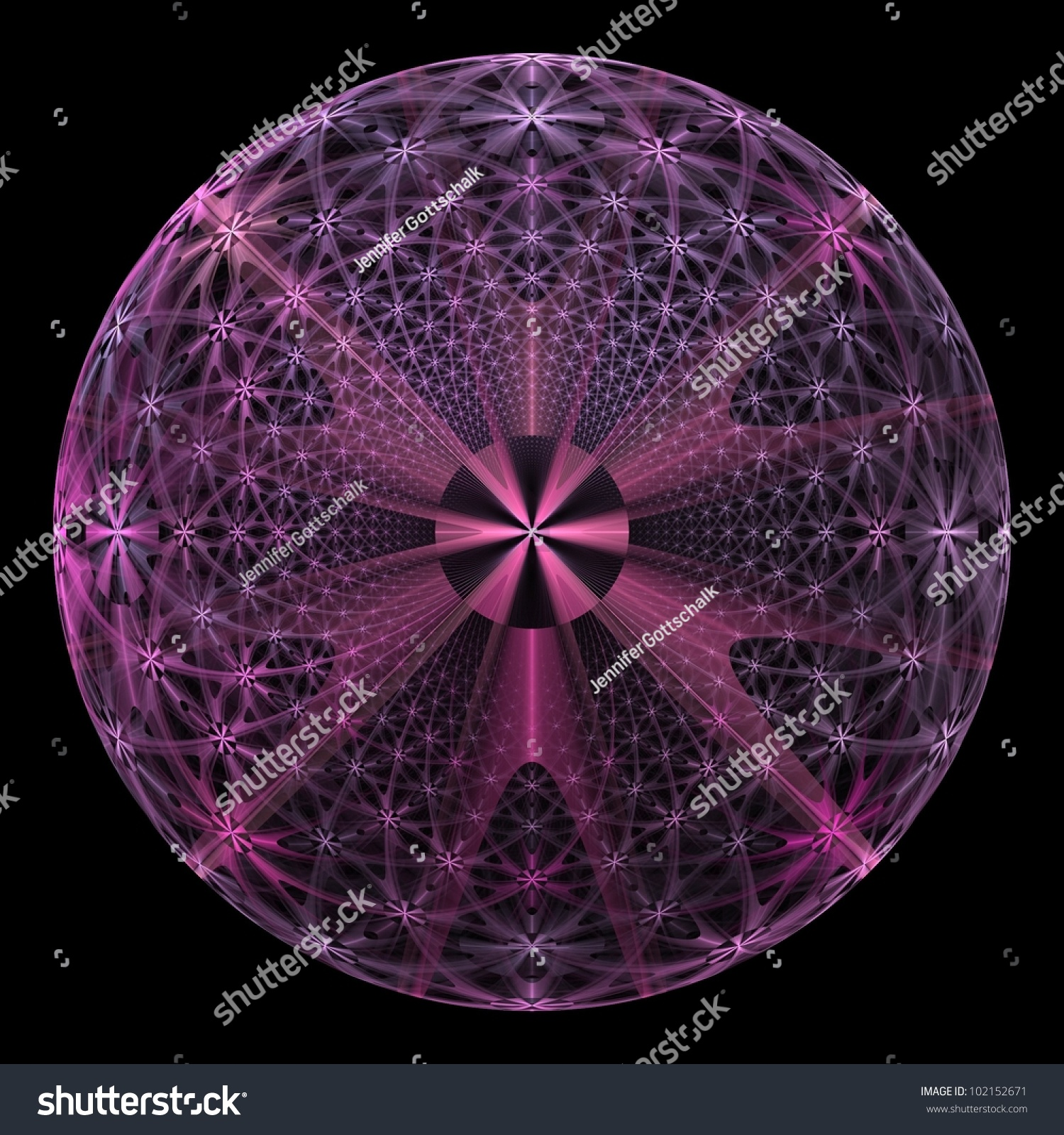 Funky Pink And Purple Star Flower Disk On Black Background Ez Canvas