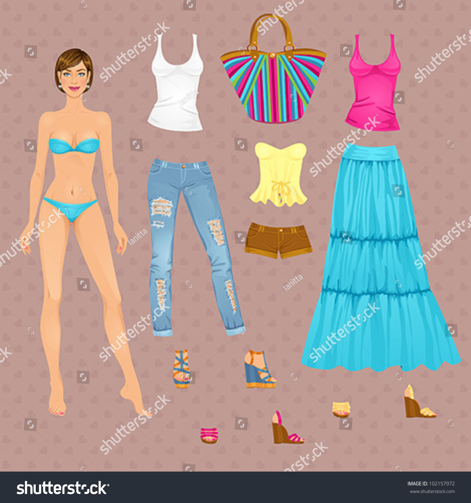 paper doll template woman - beautiful dress female paper doll ready stock vector